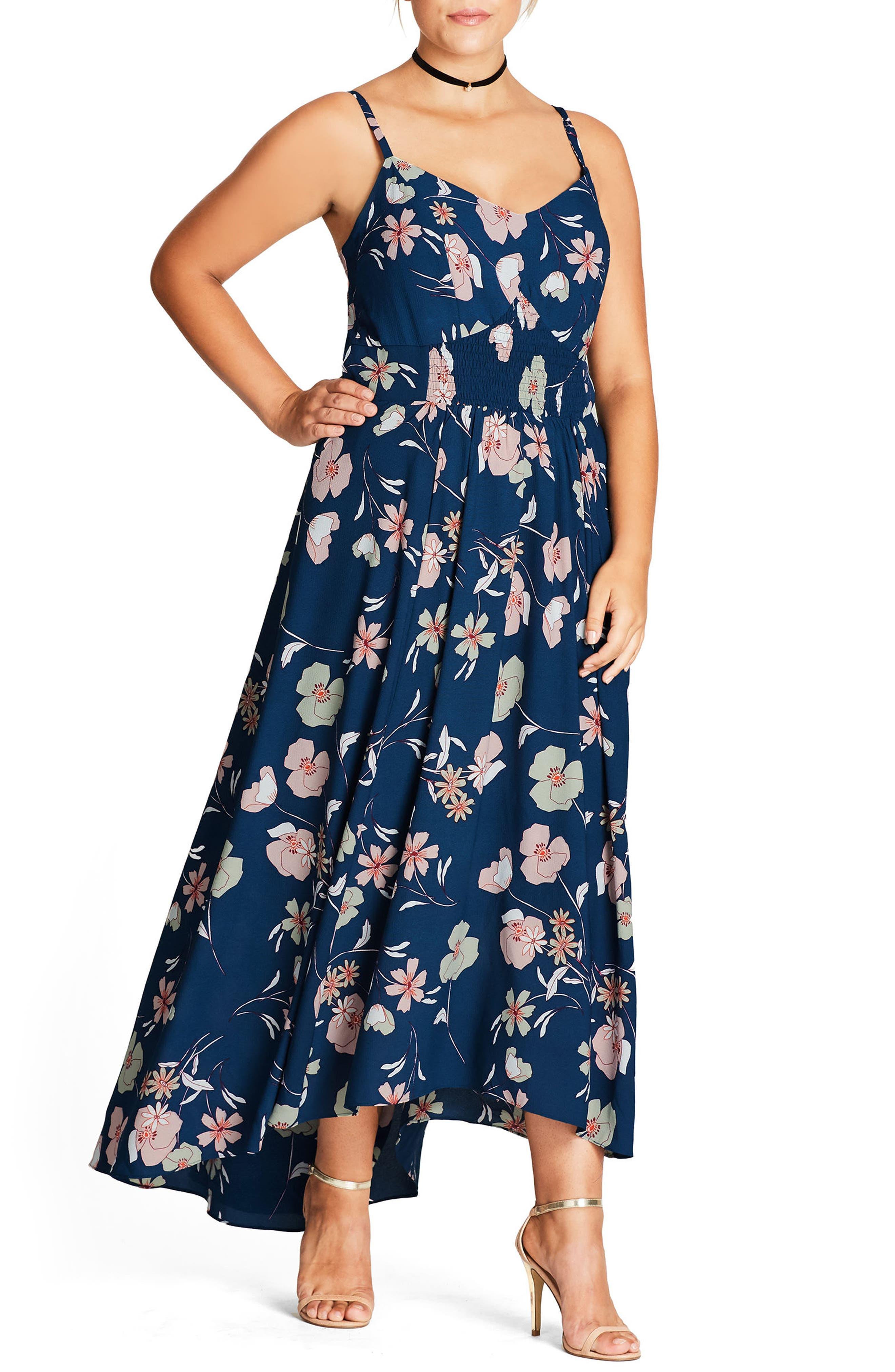 Naive Floral Maxi Dress,                         Main,                         color, 616