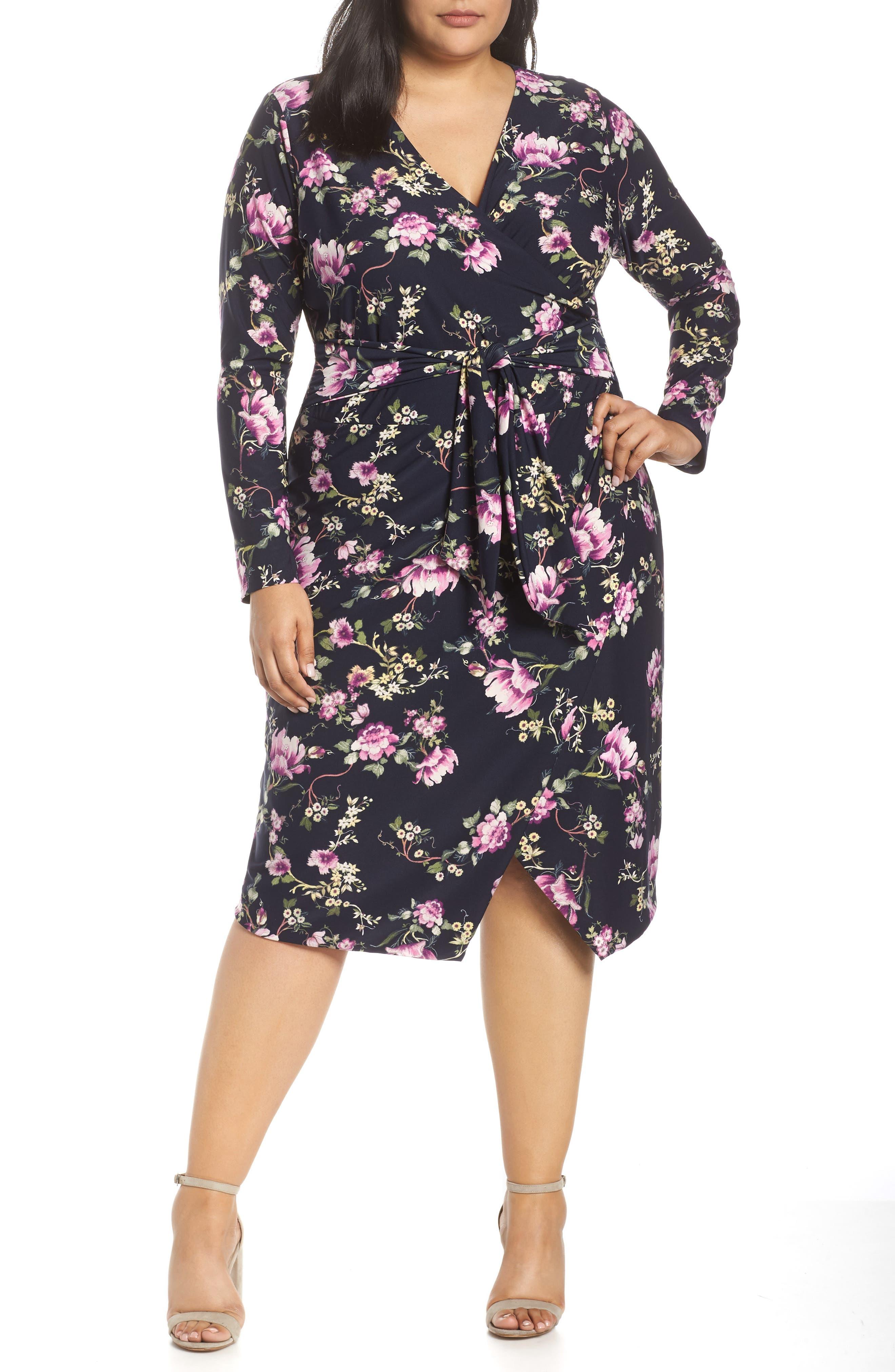 Plus Size Rachel Rachel Roy Floral Faux Wrap Dress, Blue