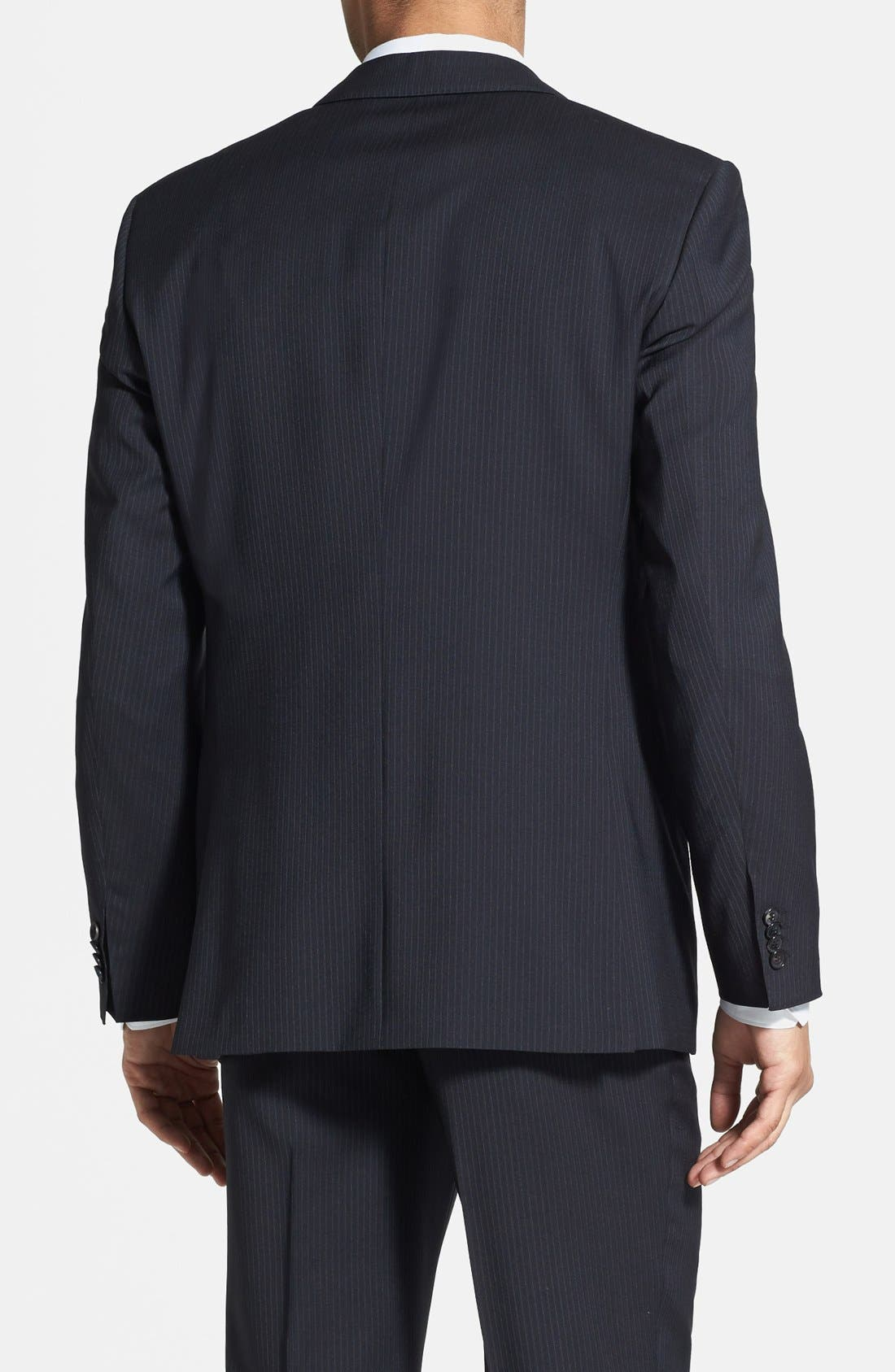 BOSS 'James/Sharp' Trim Fit Stripe Suit,                             Alternate thumbnail 3, color,                             410