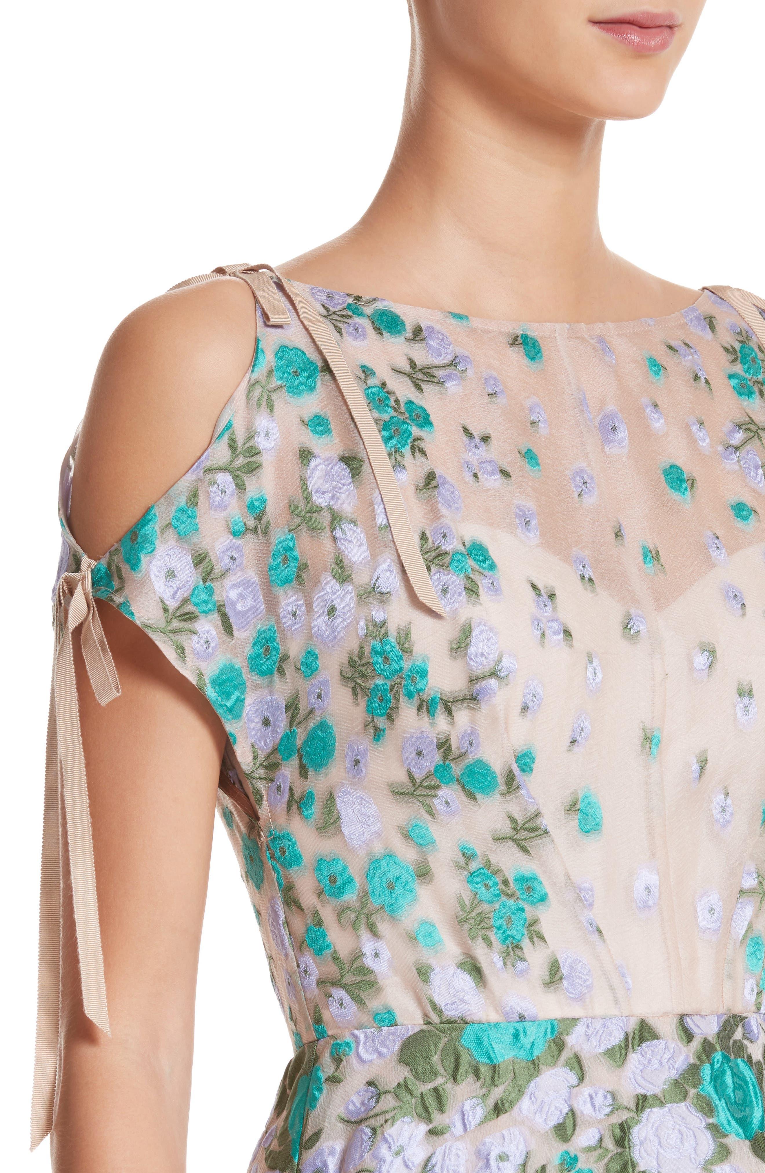 Floral Matelassé Cold Shoulder Dress,                             Alternate thumbnail 4, color,