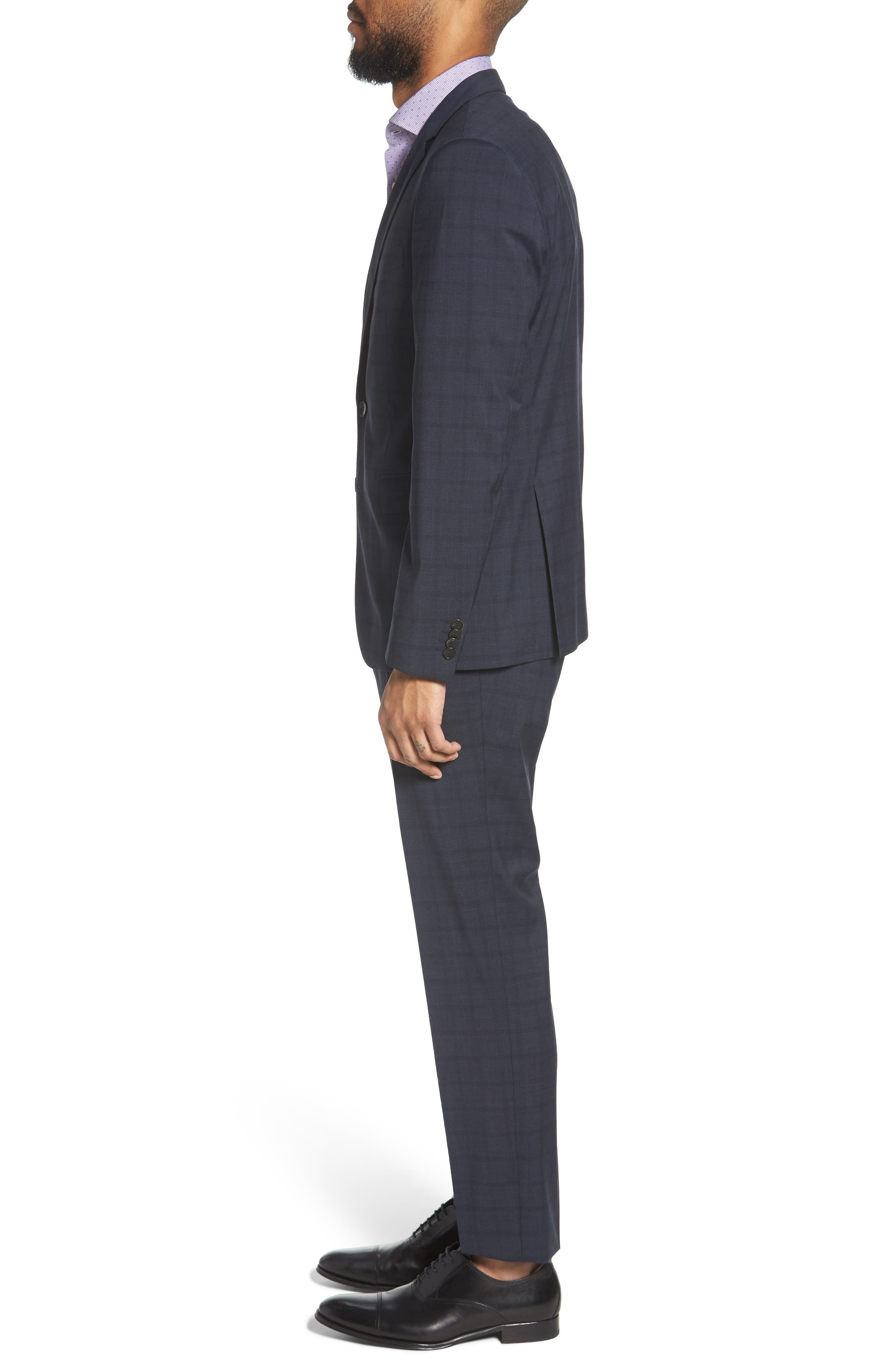 Ryan/Win Extra Trim Fit Windowpane Wool Suit,                             Alternate thumbnail 3, color,                             BLUE