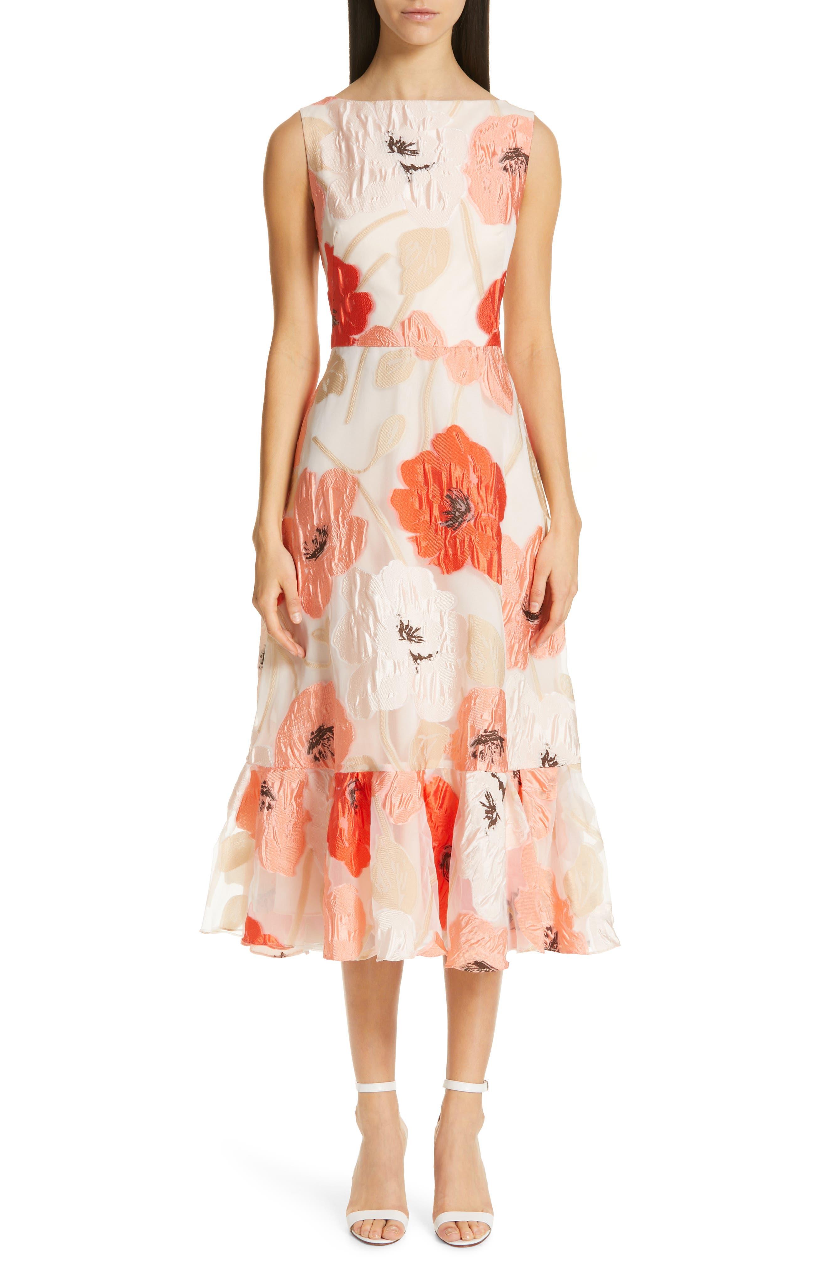 LELA ROSE Oversize Floral Fil Coupé Midi Dress, Main, color, CORAL MULTI