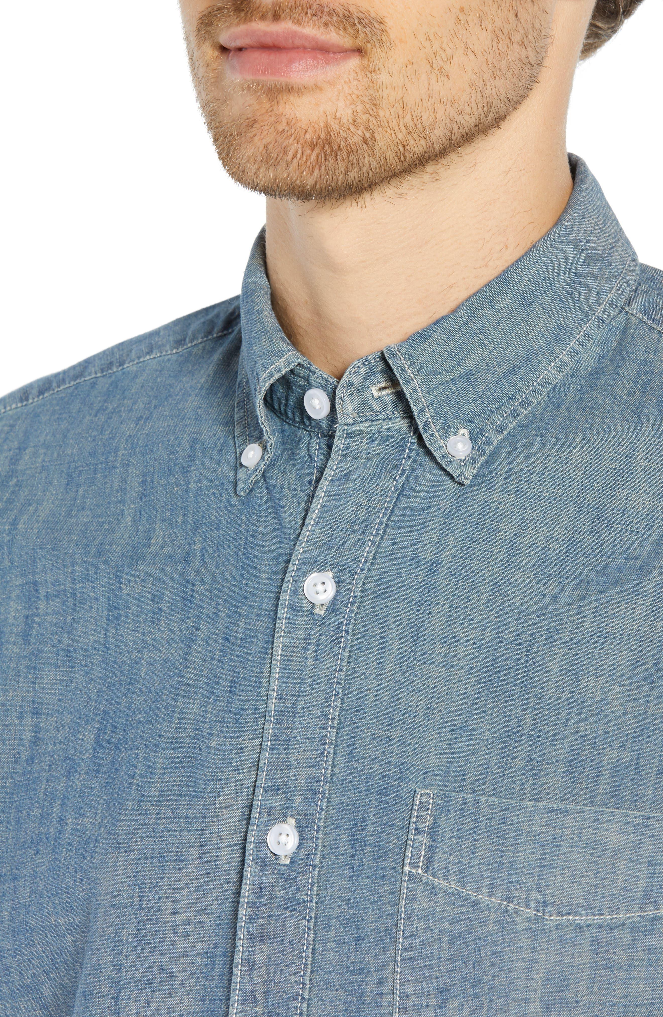 Slim Fit Indigo Japanese Chambray Shirt,                             Alternate thumbnail 2, color,                             INDIGO