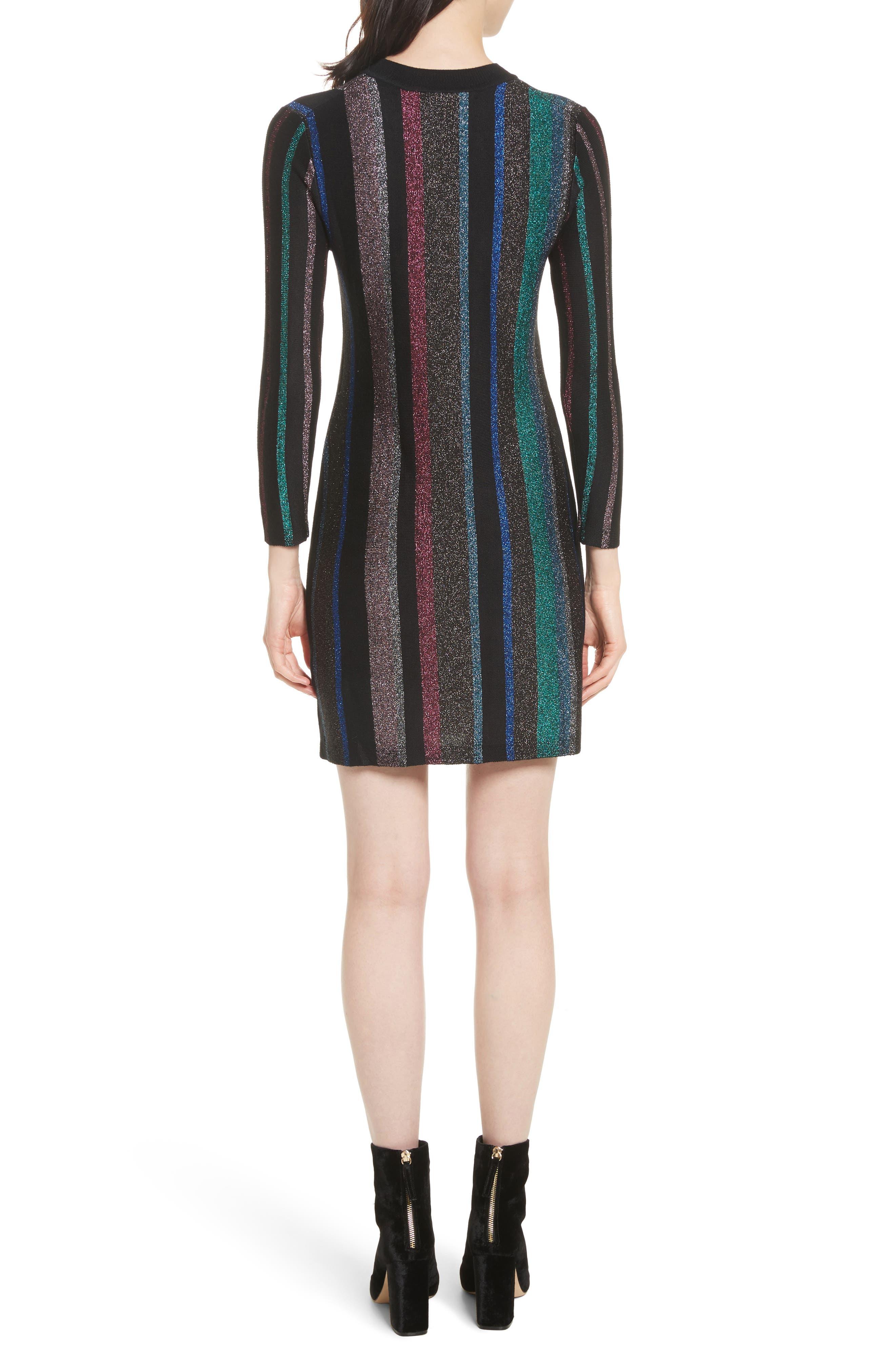 Metallic Stripe Body-Con Dress,                             Alternate thumbnail 2, color,                             001