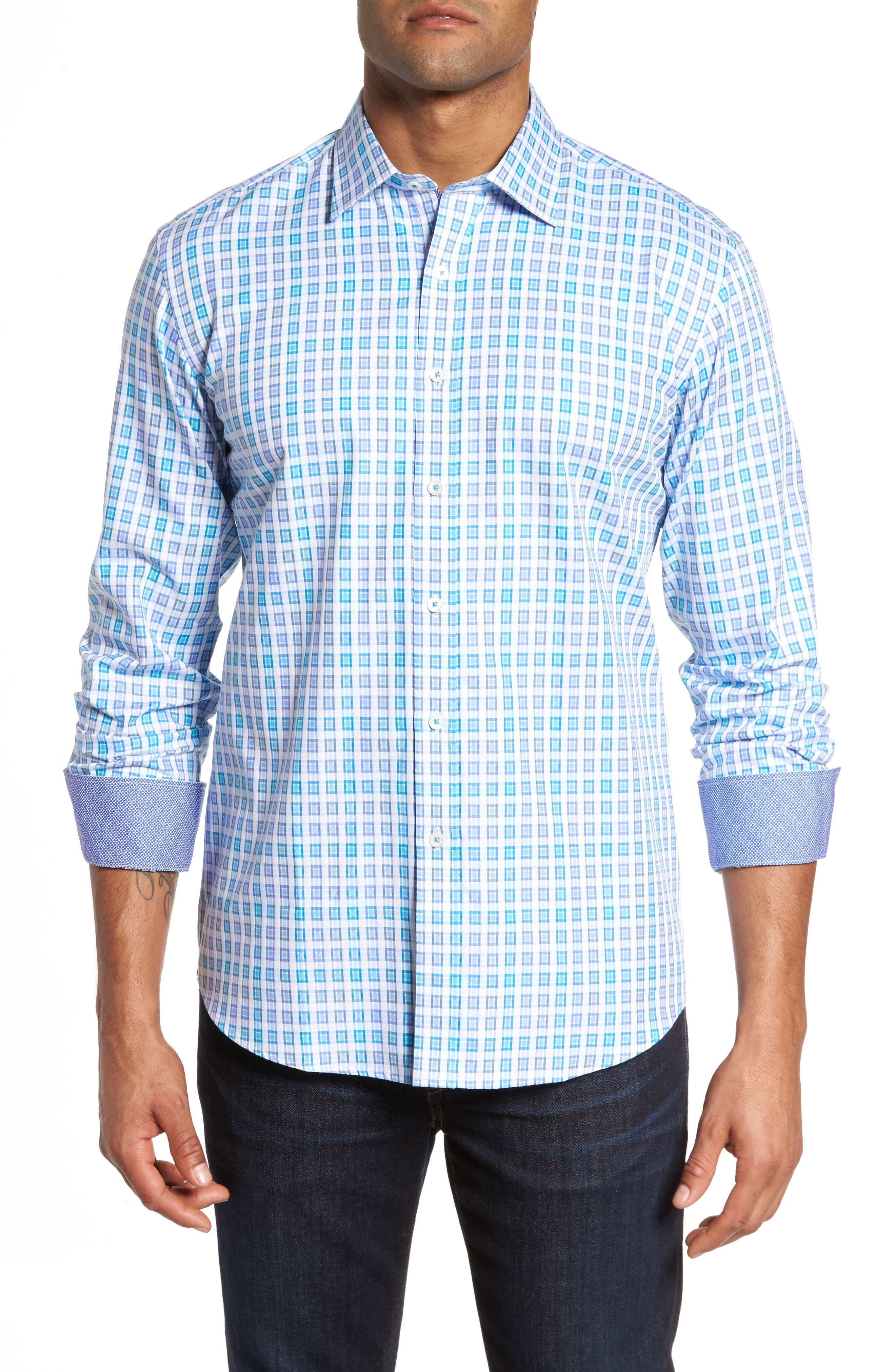 Shaped Fit Check Sport Shirt,                             Main thumbnail 1, color,                             424