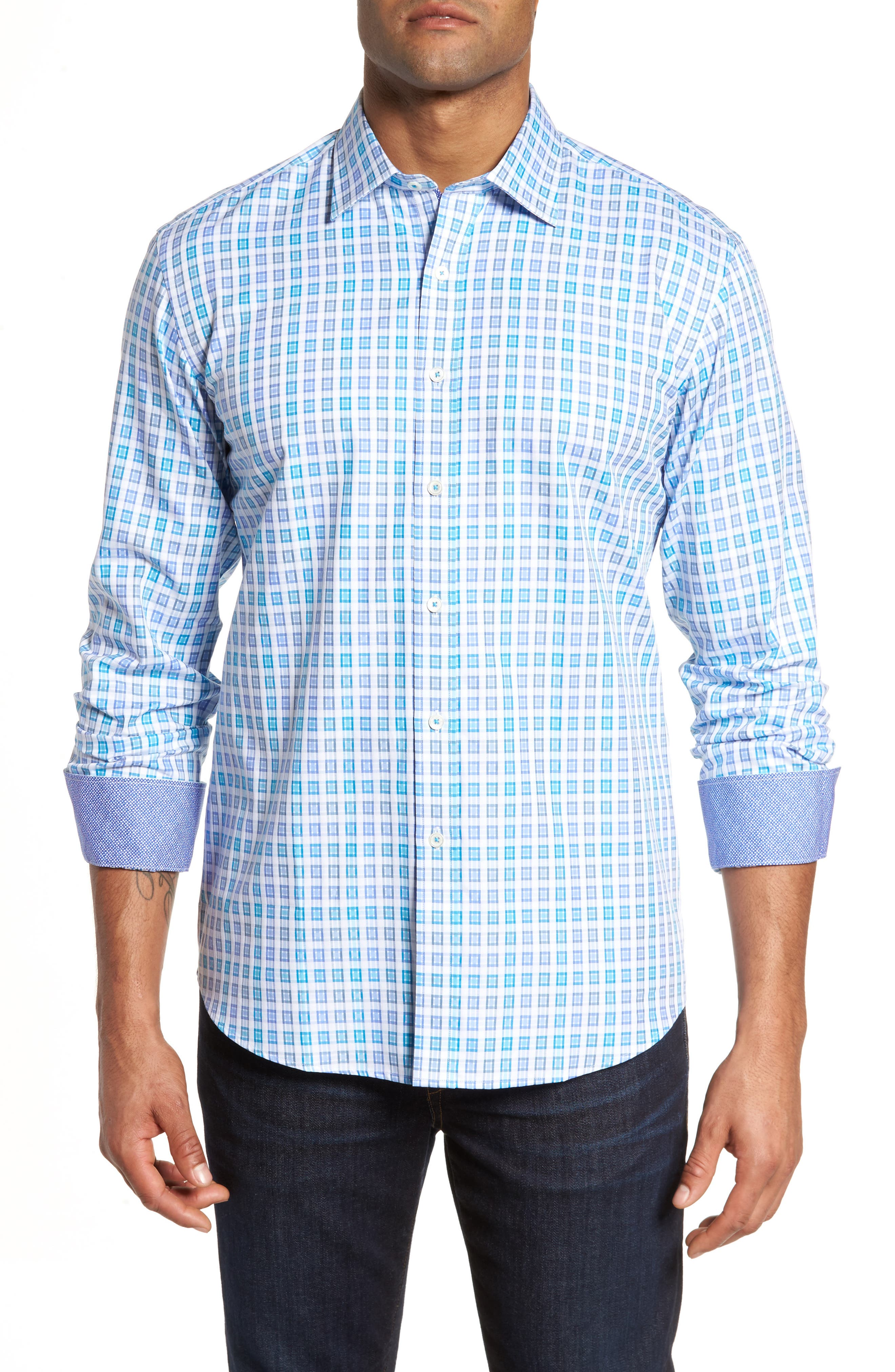 Shaped Fit Check Sport Shirt,                         Main,                         color, 424