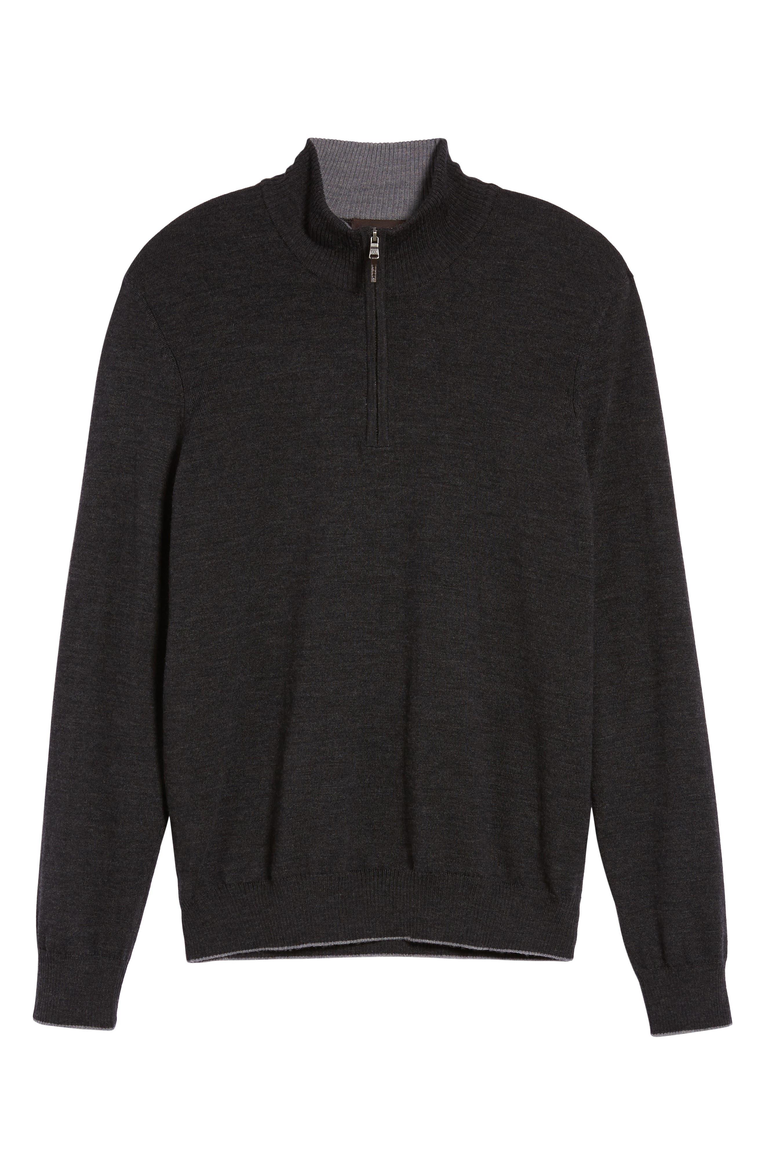 THOMAS DEAN,                             Merino Wool Blend Quarter Zip Sweater,                             Alternate thumbnail 6, color,                             020
