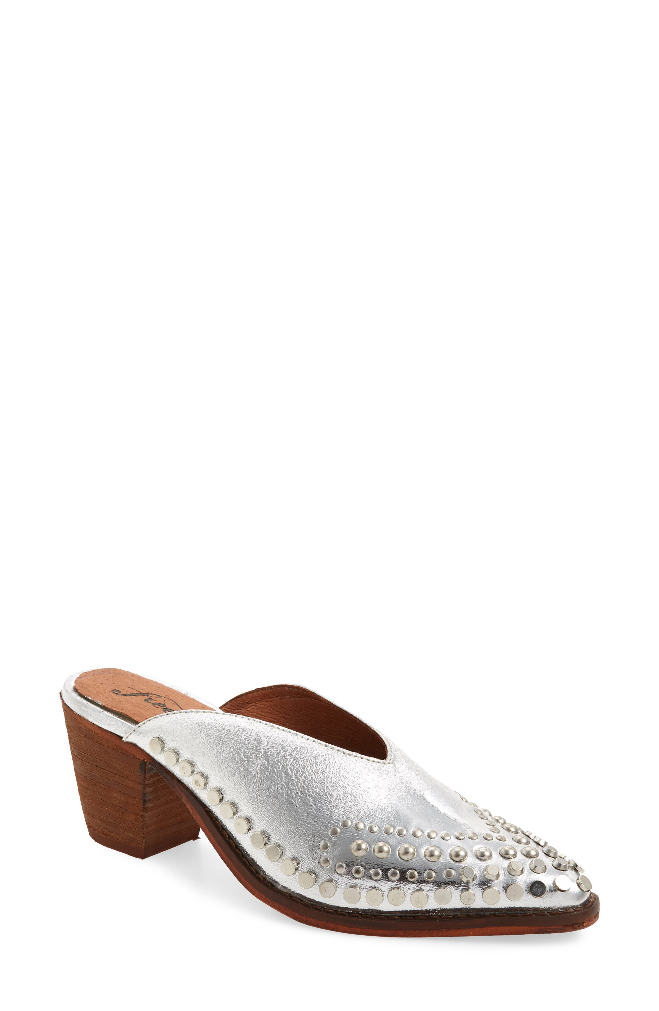 Anya Studded Mule,                             Main thumbnail 1, color,                             SILVER LEATHER