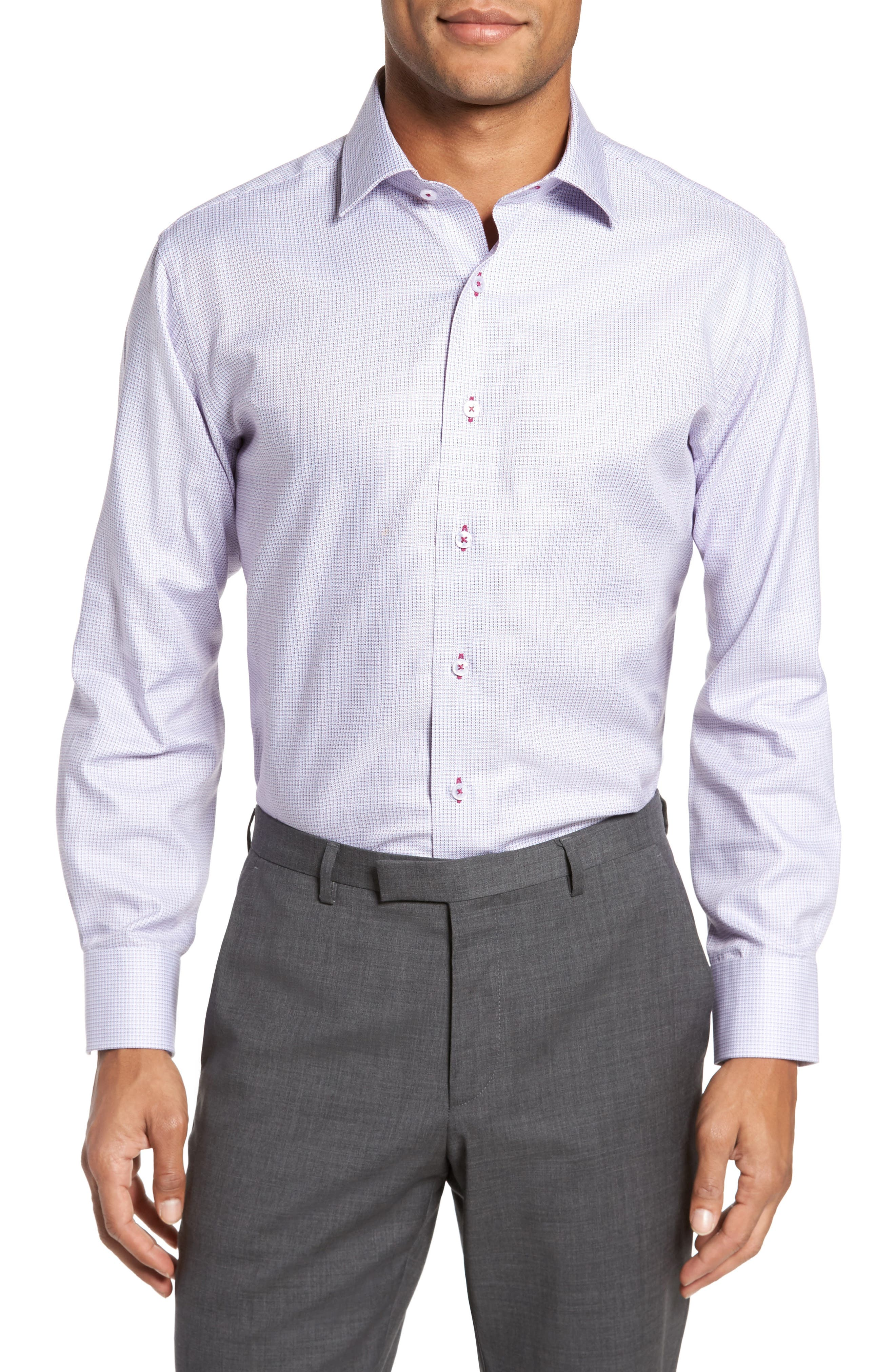 Trim Fit Textured Check Dress Shirt, Main, color, 450