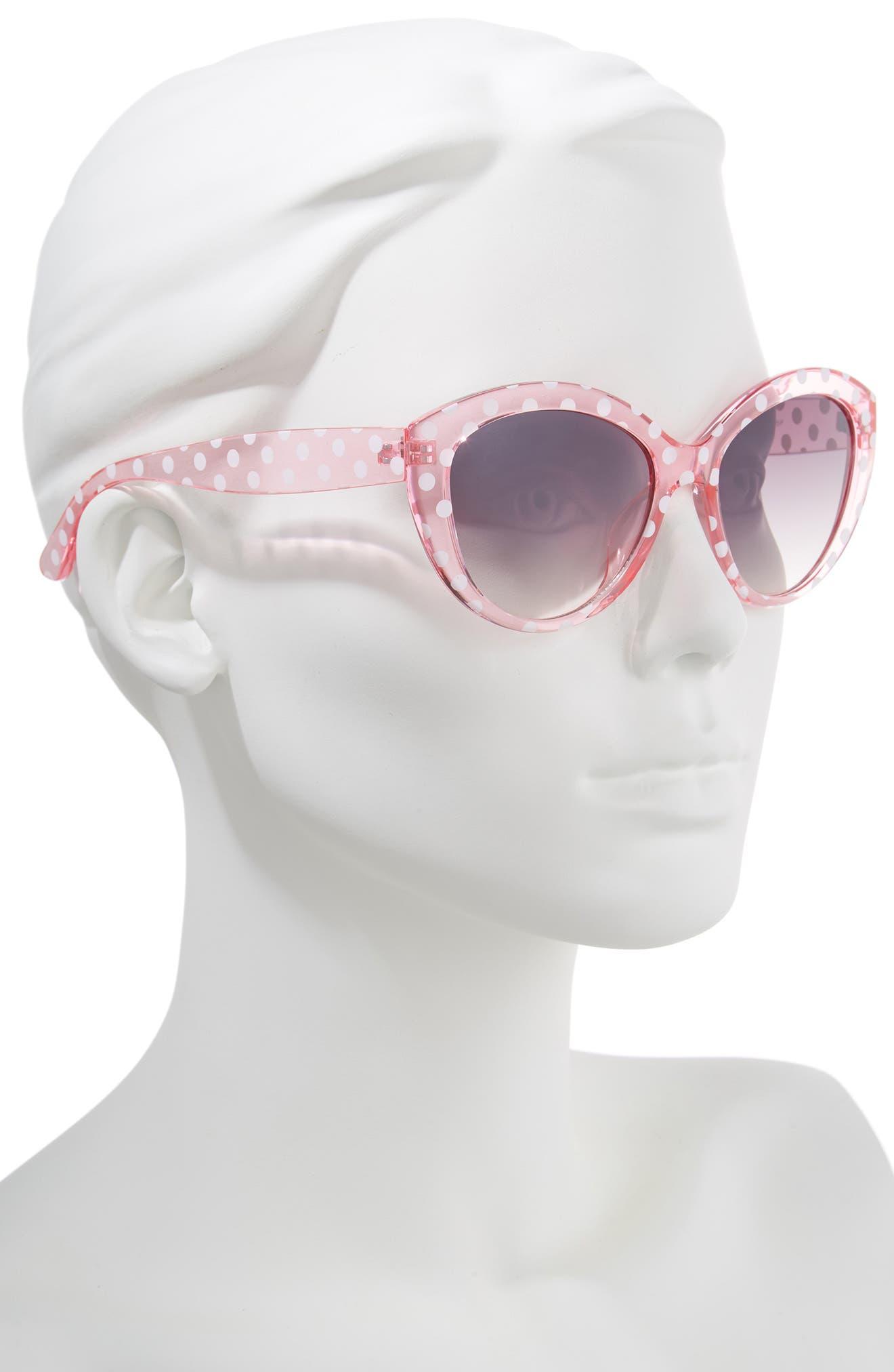 55mm Translucent Polka Dot Cat Eye Sunglasses,                             Alternate thumbnail 2, color,                             PINK/ BLACK