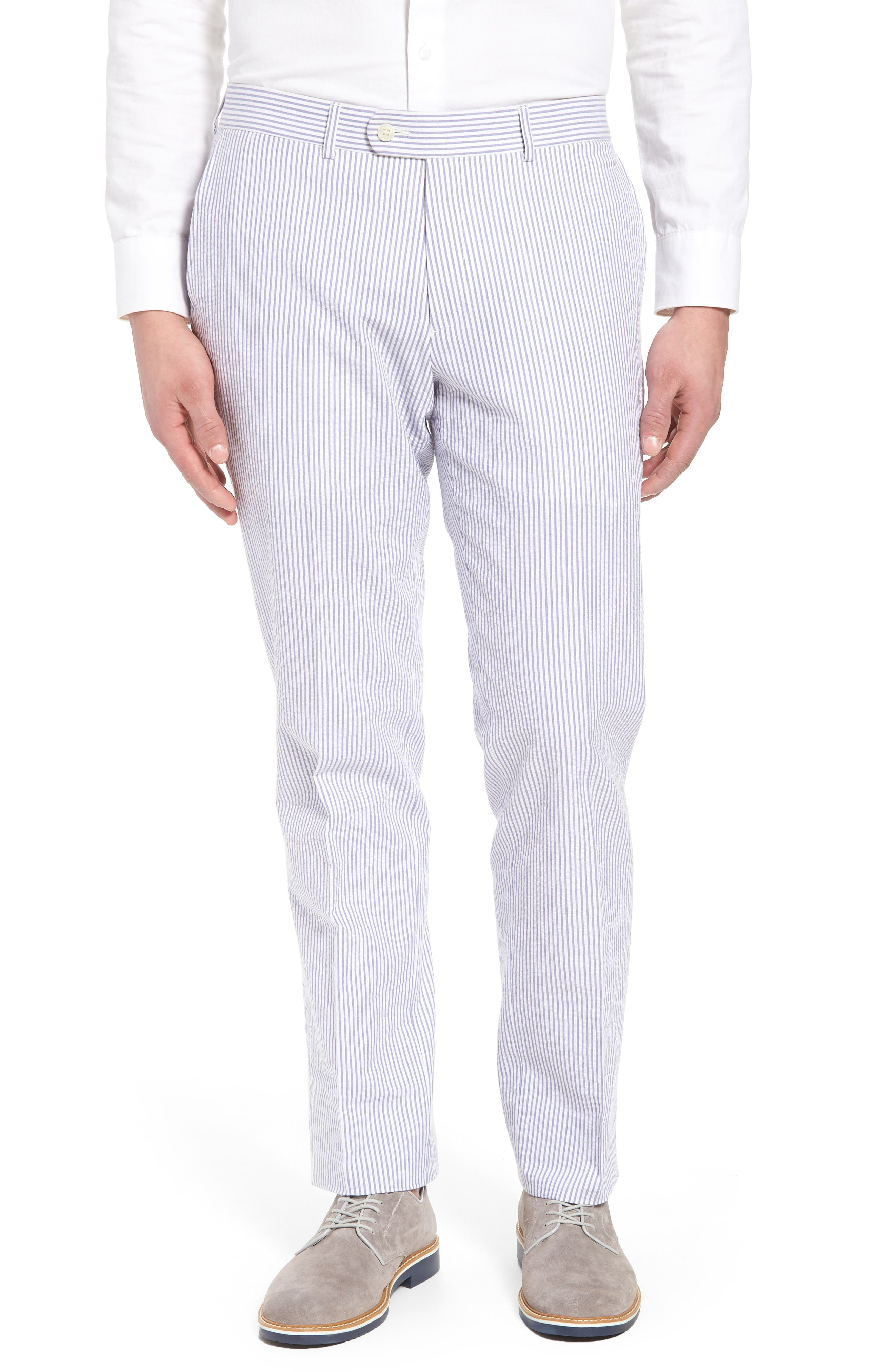 Andrew AIM Flat Front Seersucker Trousers,                         Main,                         color, BLUE AND WHITE