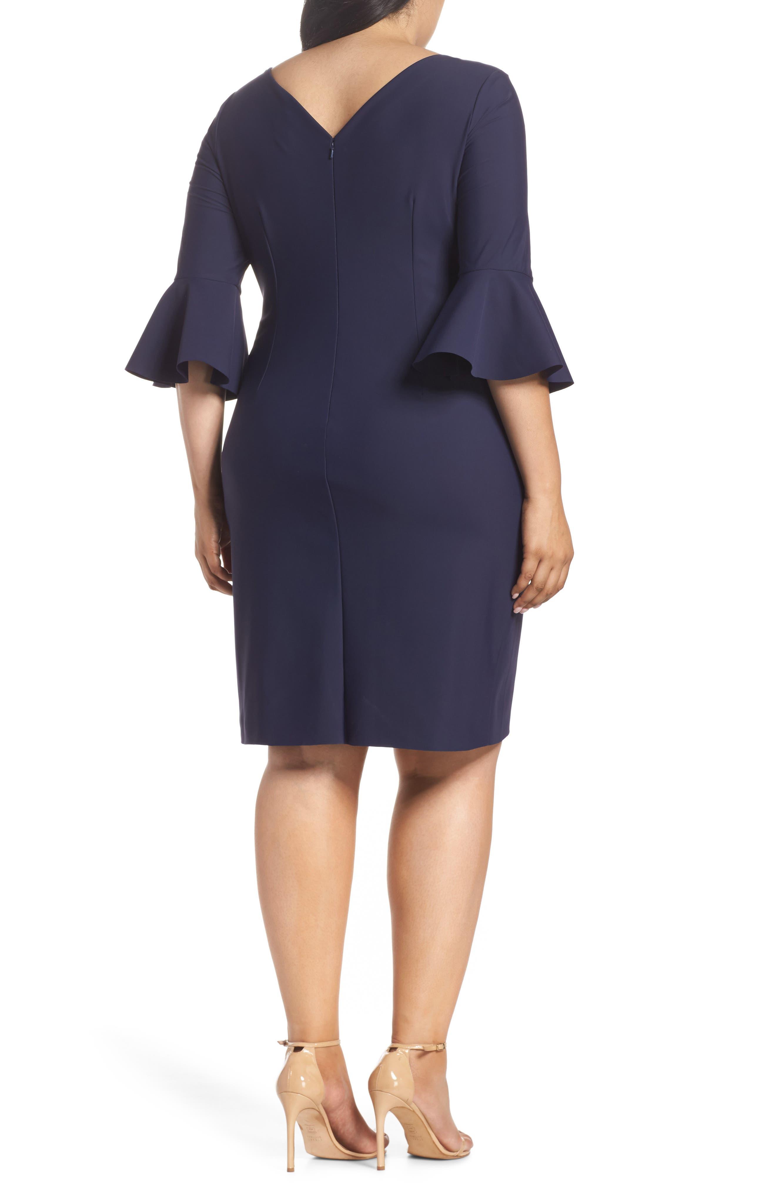 Bell Sleeve Sheath Dress,                             Alternate thumbnail 2, color,                             NAVY