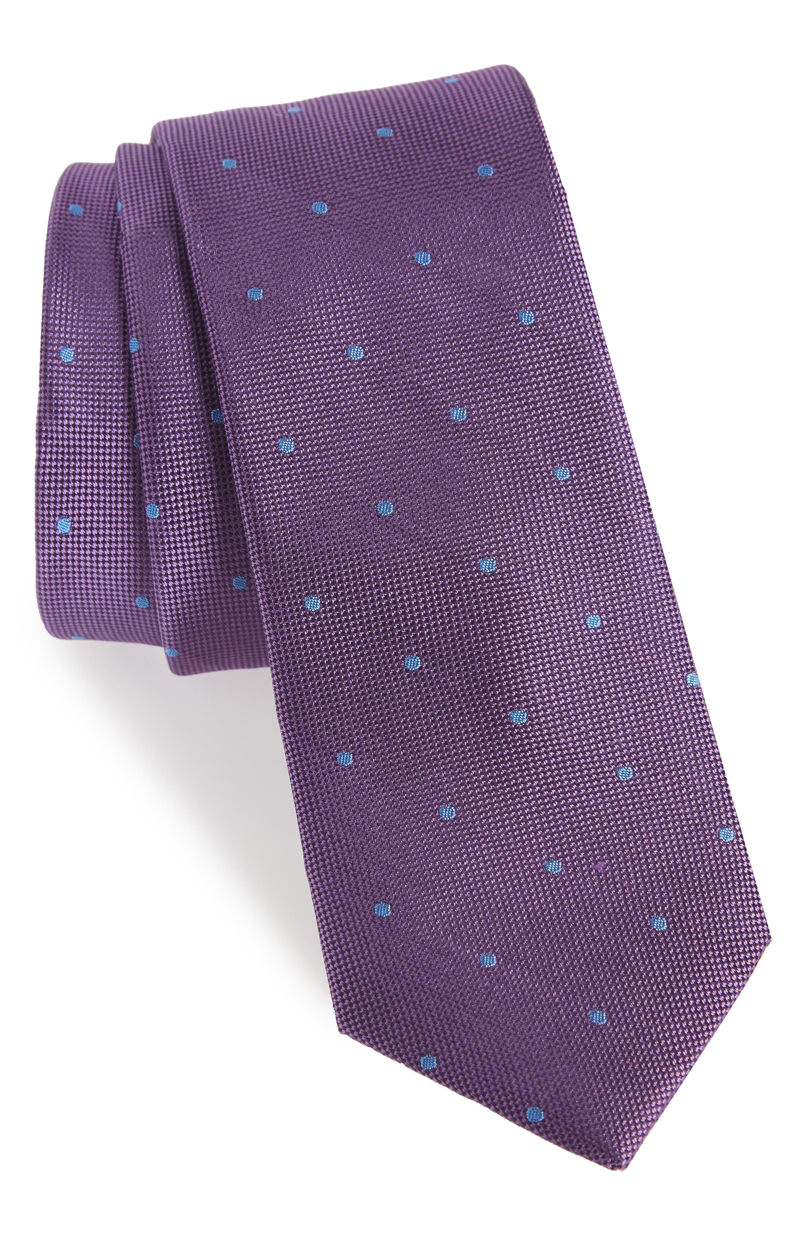 Arnet Dot Skinny Silk Tie,                         Main,                         color, PURPLE