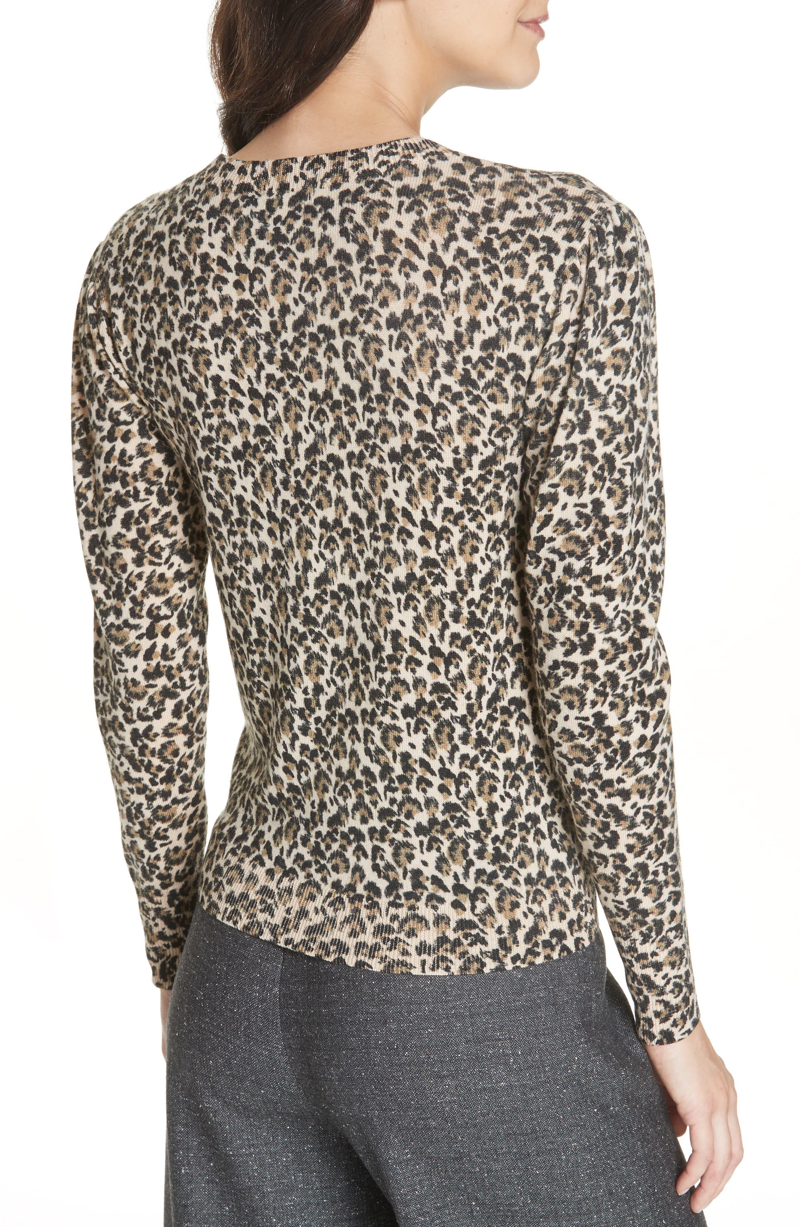 Leopard Print Wool Sweater,                             Alternate thumbnail 2, color,                             250