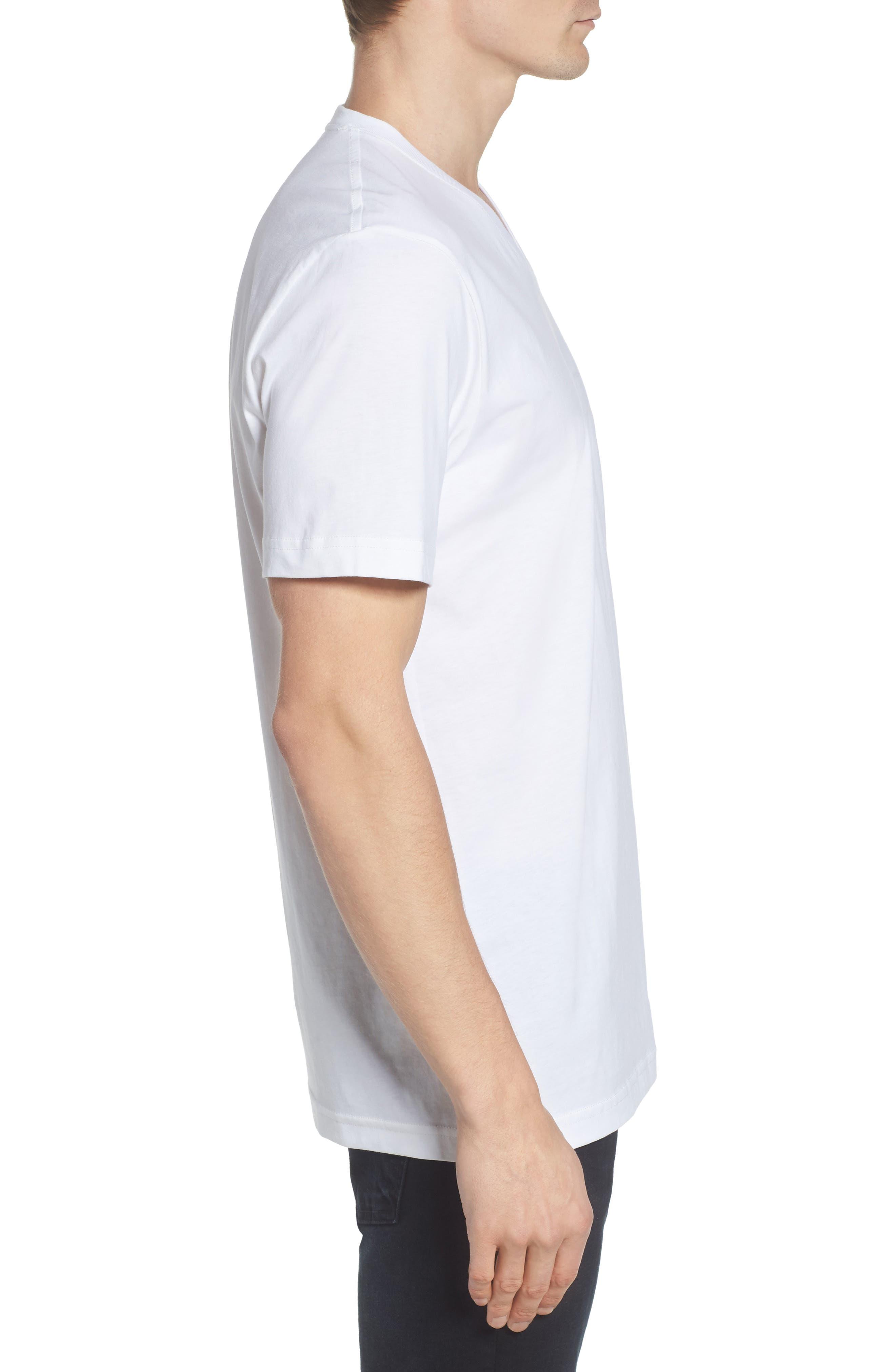 V-Neck T-Shirt,                             Alternate thumbnail 3, color,                             WHITE
