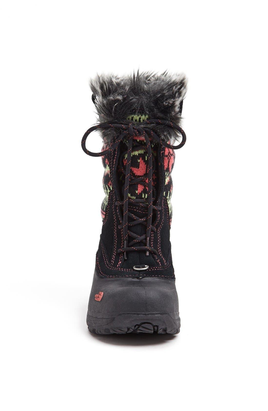 'Shellista' Lace Up Snow Boot,                             Alternate thumbnail 4, color,                             001