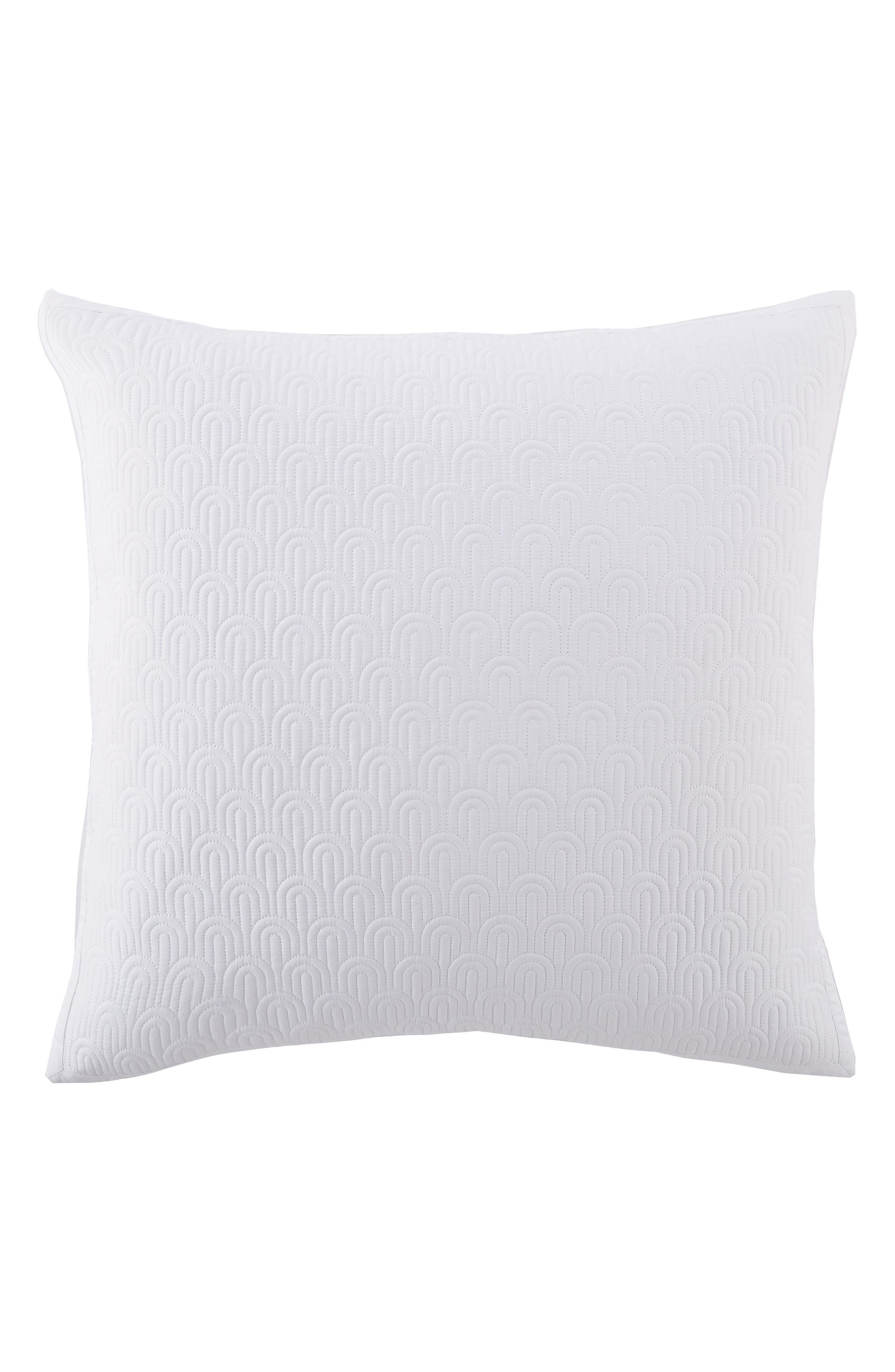 Quilted Euro Sham,                             Main thumbnail 1, color,                             WHITE