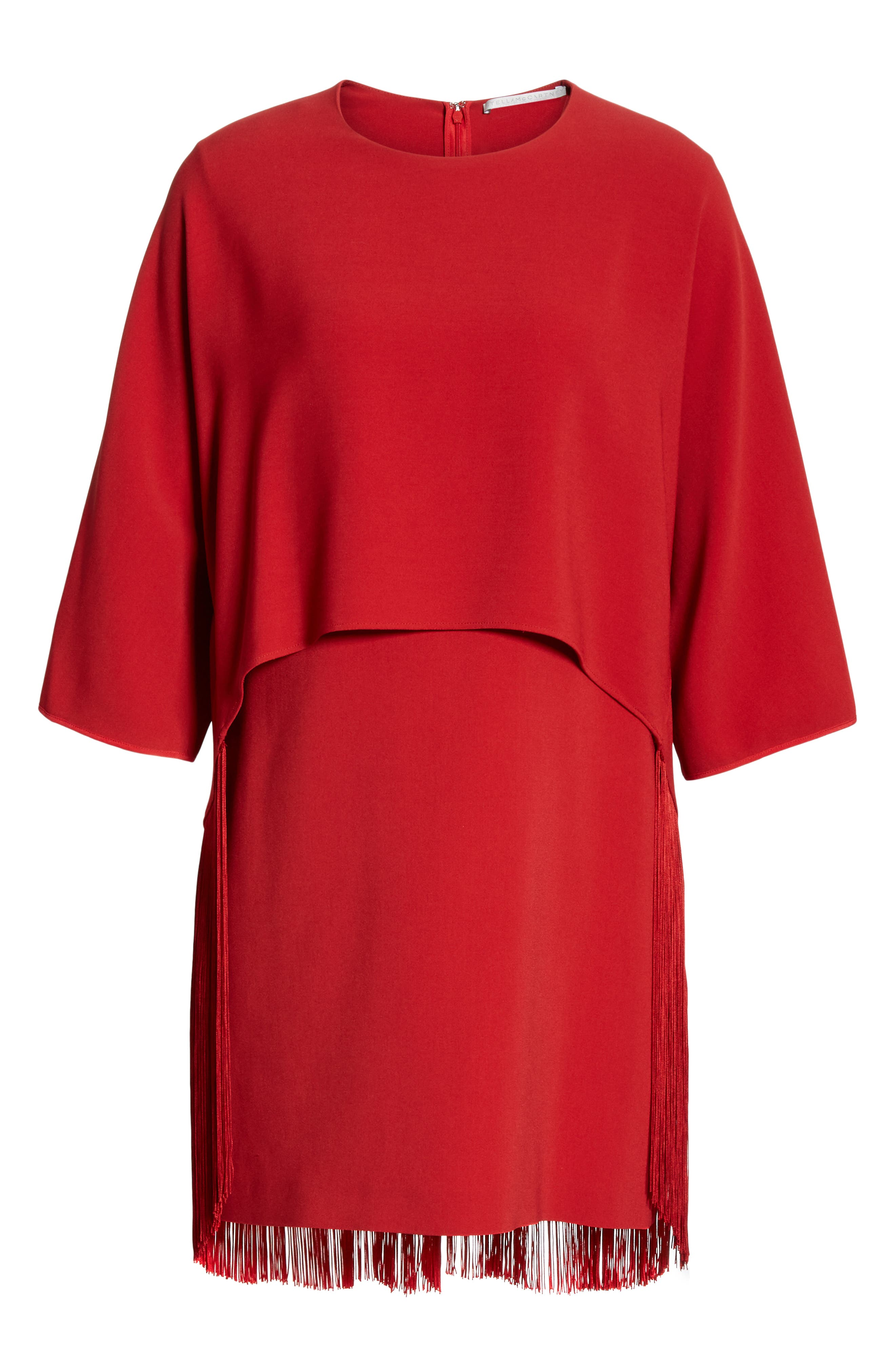 Fringe Overlay Stretch Cady Dress,                             Alternate thumbnail 7, color,                             RED ROMANCE