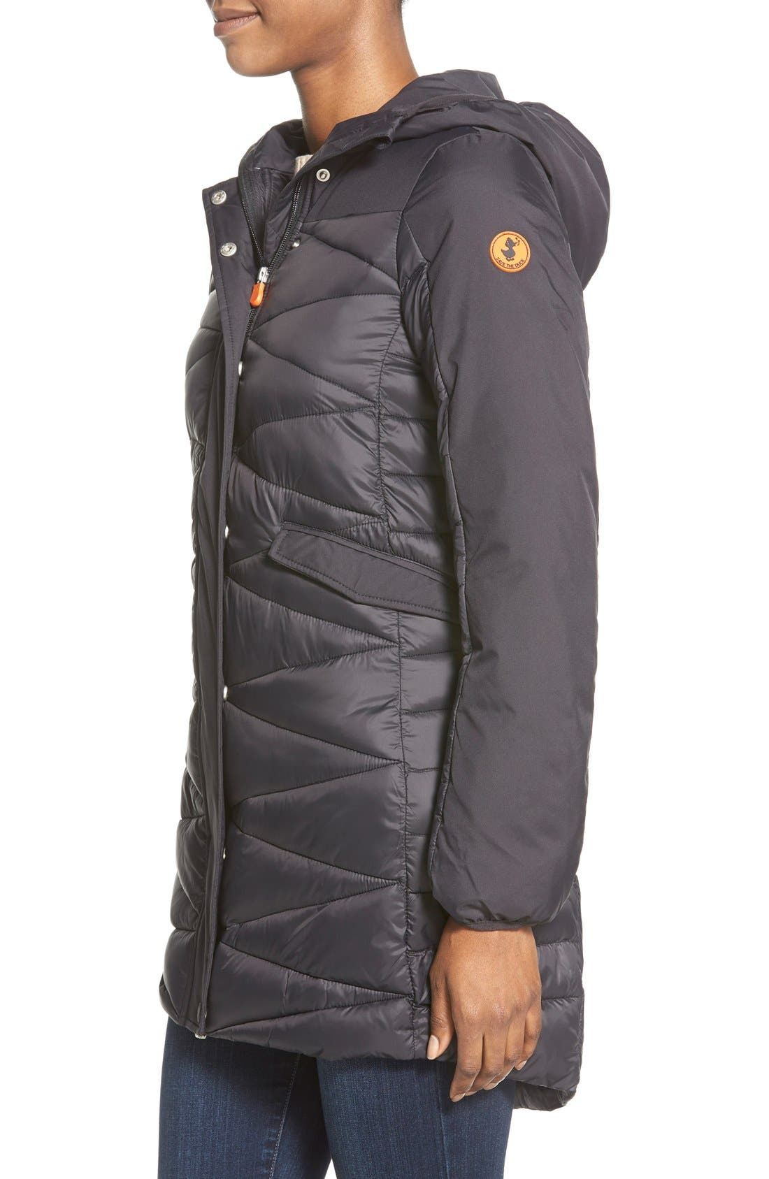 Zip Back Zigzag Quilted Jacket,                             Alternate thumbnail 5, color,                             001