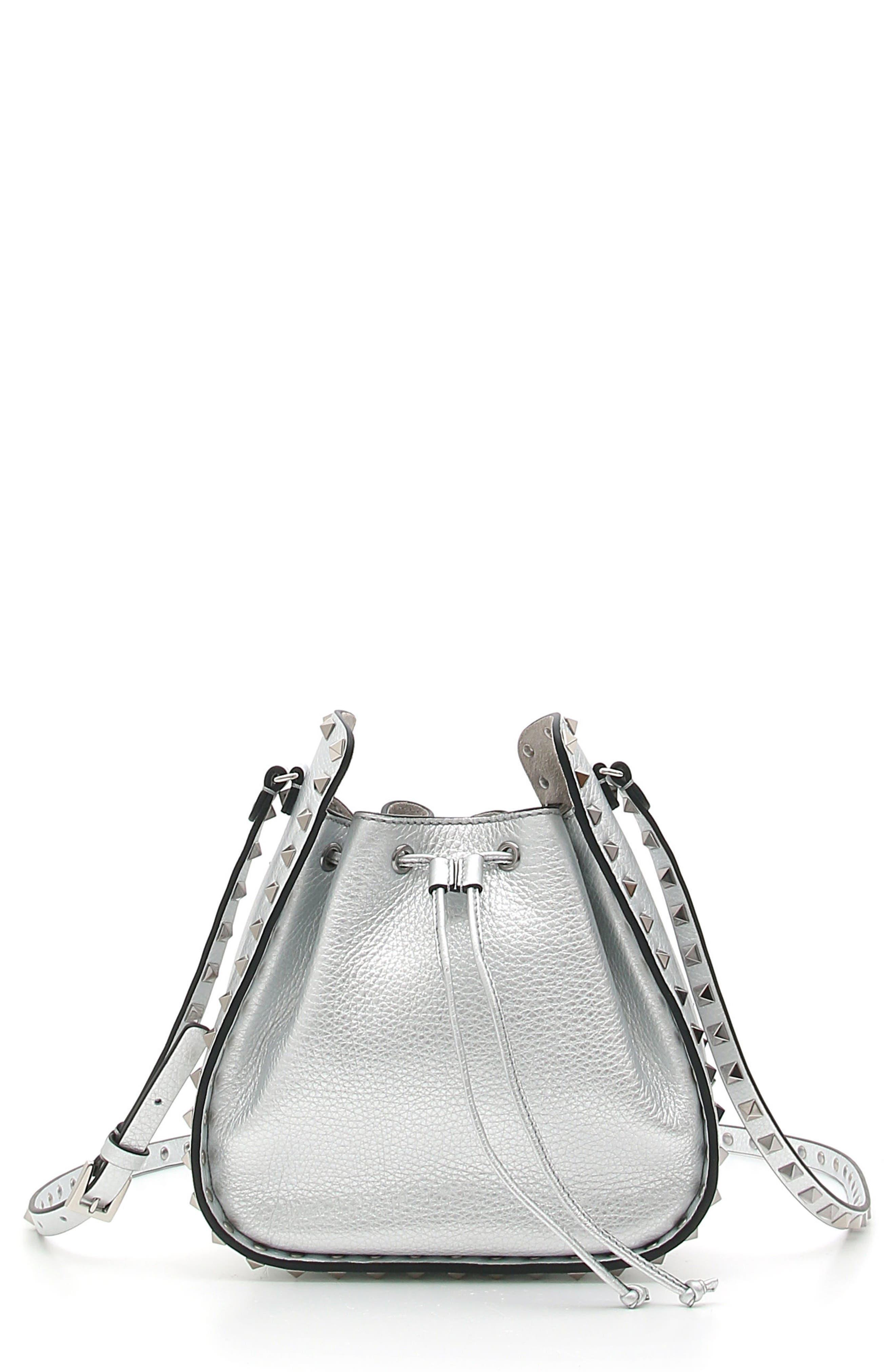 Rockstud Metallic Leather Bucket Bag,                             Main thumbnail 1, color,                             040