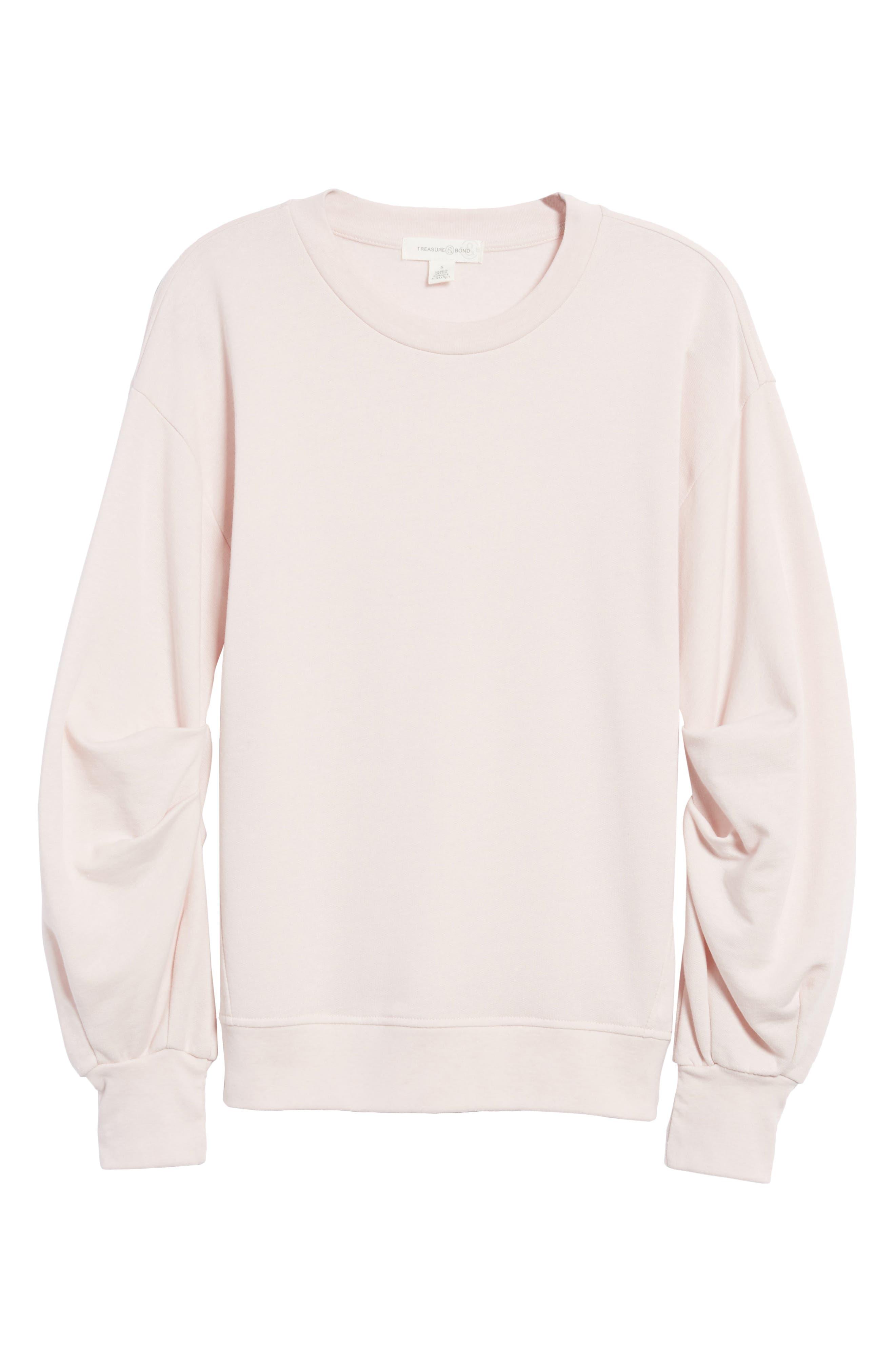 Pleated Sleeve Sweatshirt,                             Alternate thumbnail 12, color,