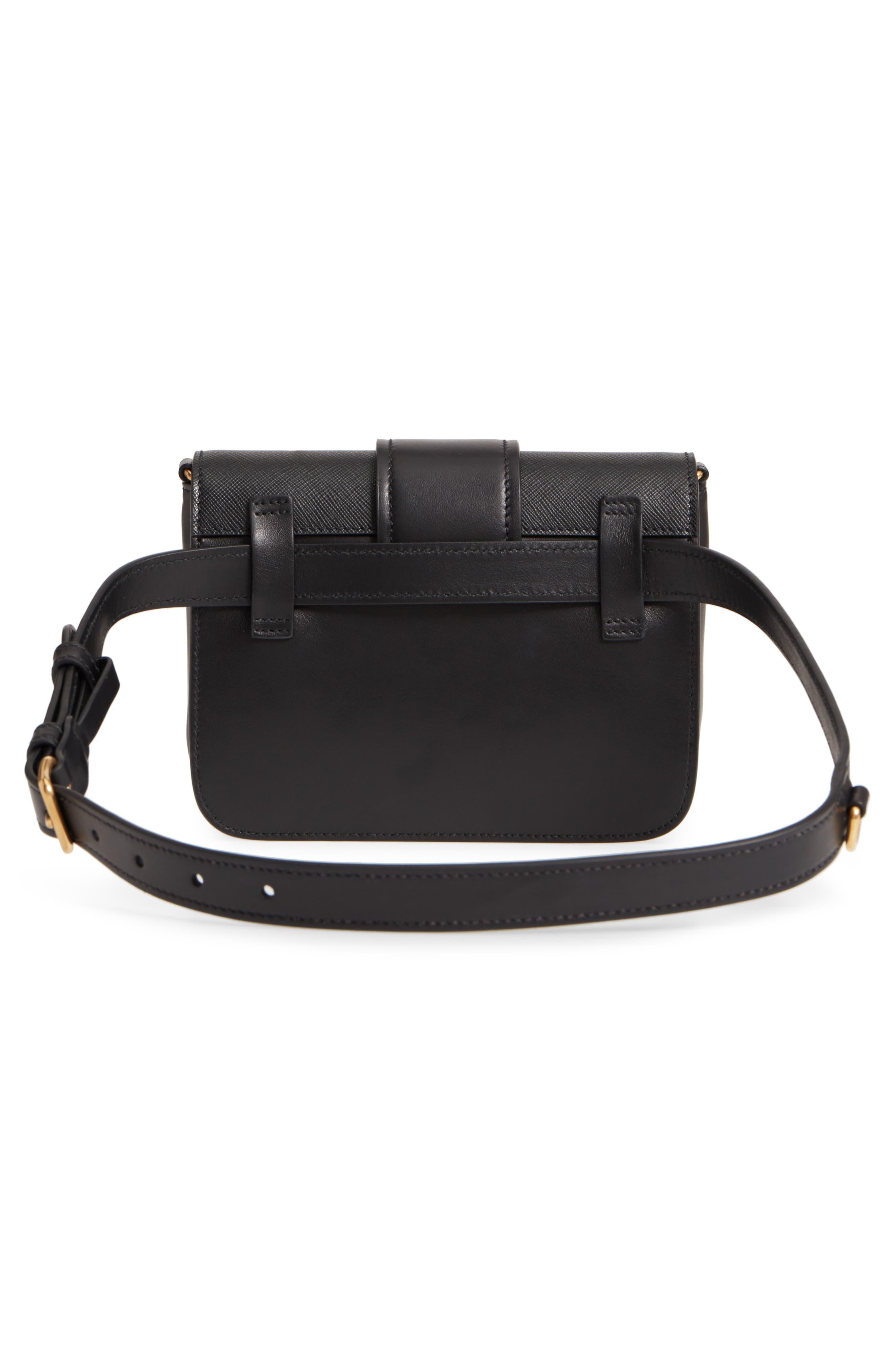 PRADA,                             Cahier Leather Belt Bag,                             Alternate thumbnail 4, color,                             001