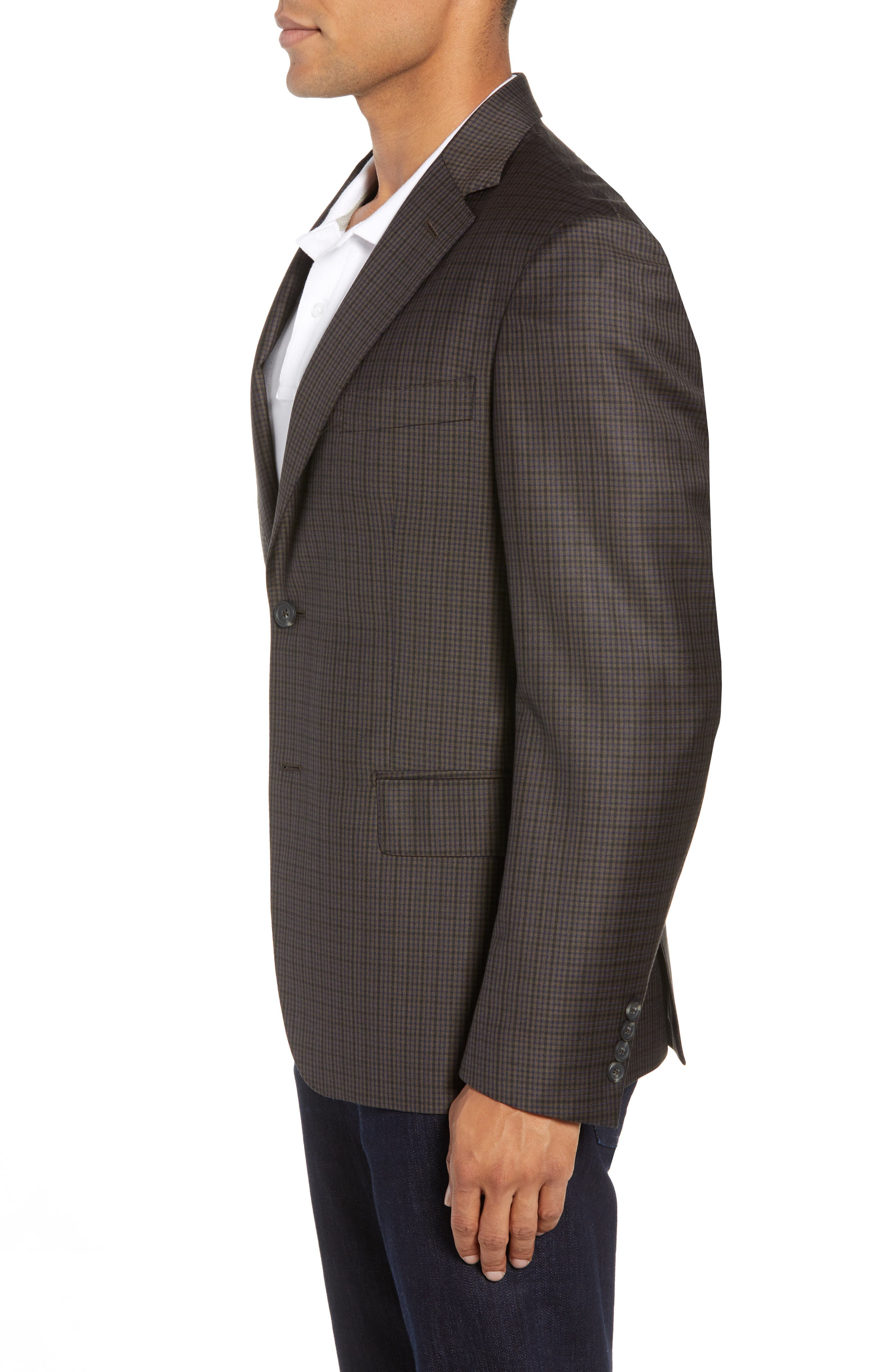 Traditional Fit Check Wool Sport Coat,                             Alternate thumbnail 3, color,                             BROWN