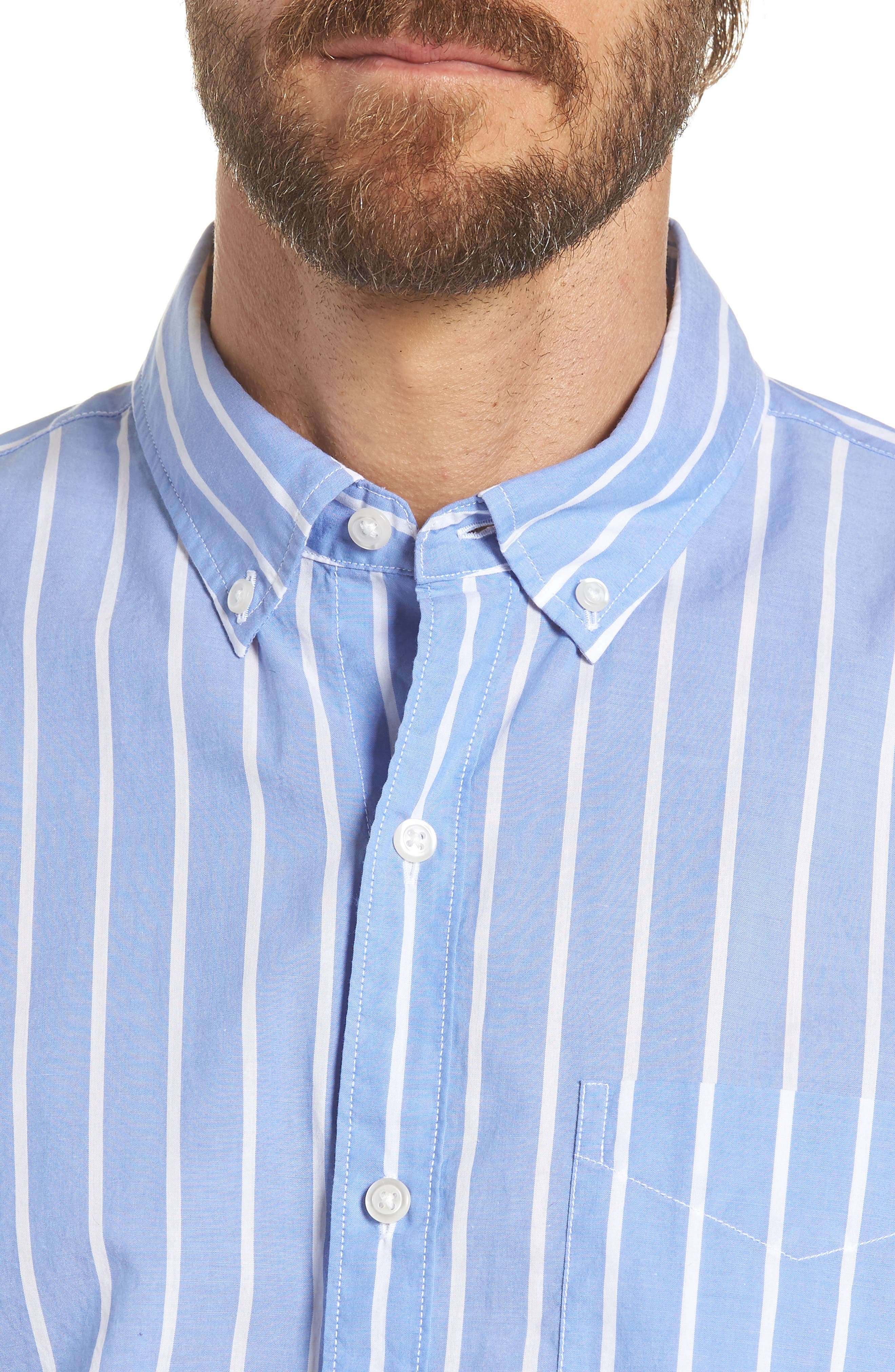 Summerweight Slim Fit Stripe Sport Shirt,                             Alternate thumbnail 2, color,                             100