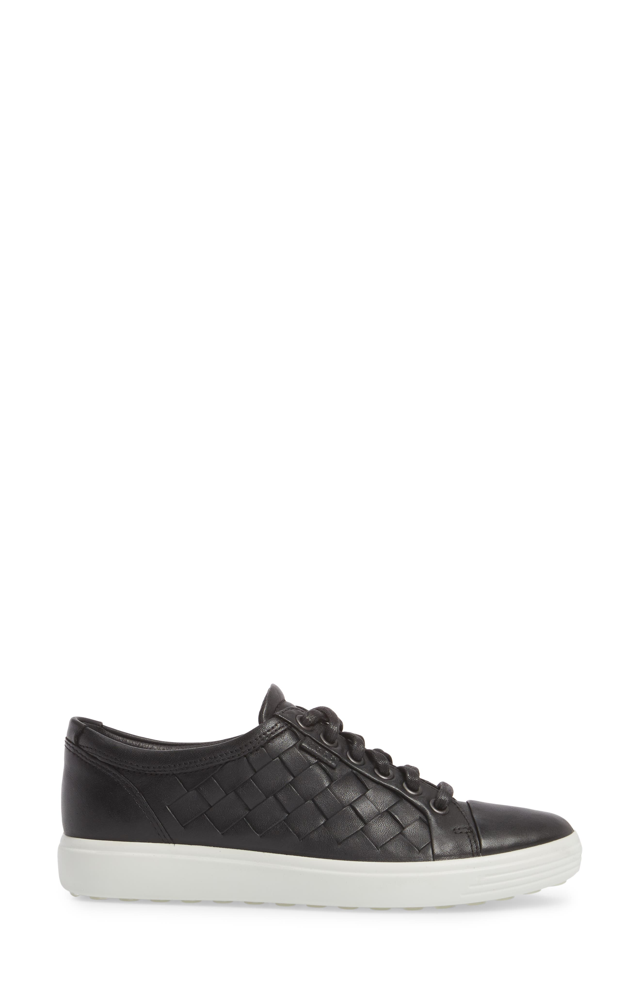 ECCO,                             Soft 7 Woven Sneaker,                             Alternate thumbnail 3, color,                             BLACK LEATHER