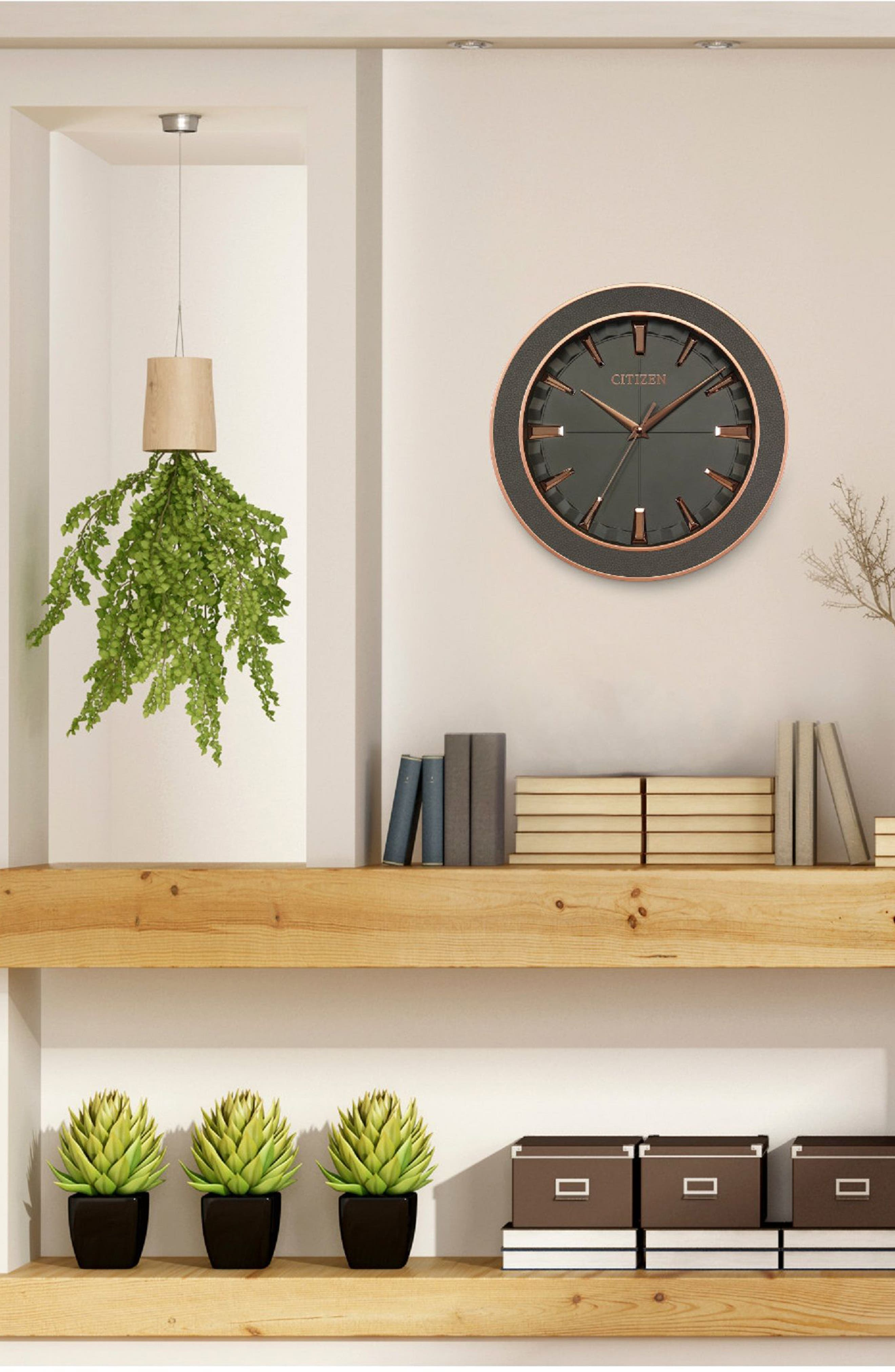 Leather Gallery Wall Clock,                             Alternate thumbnail 2, color,                             GREY