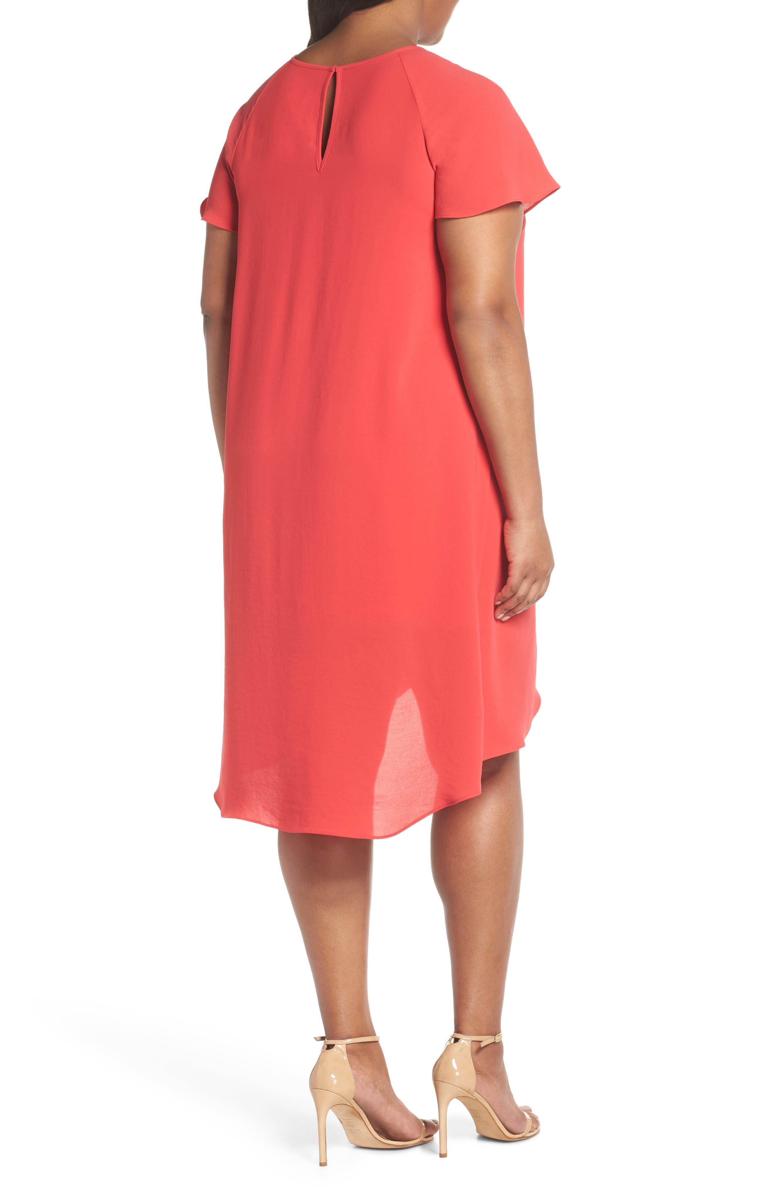 Crepe Ruffle Drape Shift Dress,                             Alternate thumbnail 2, color,                             GERANIUM