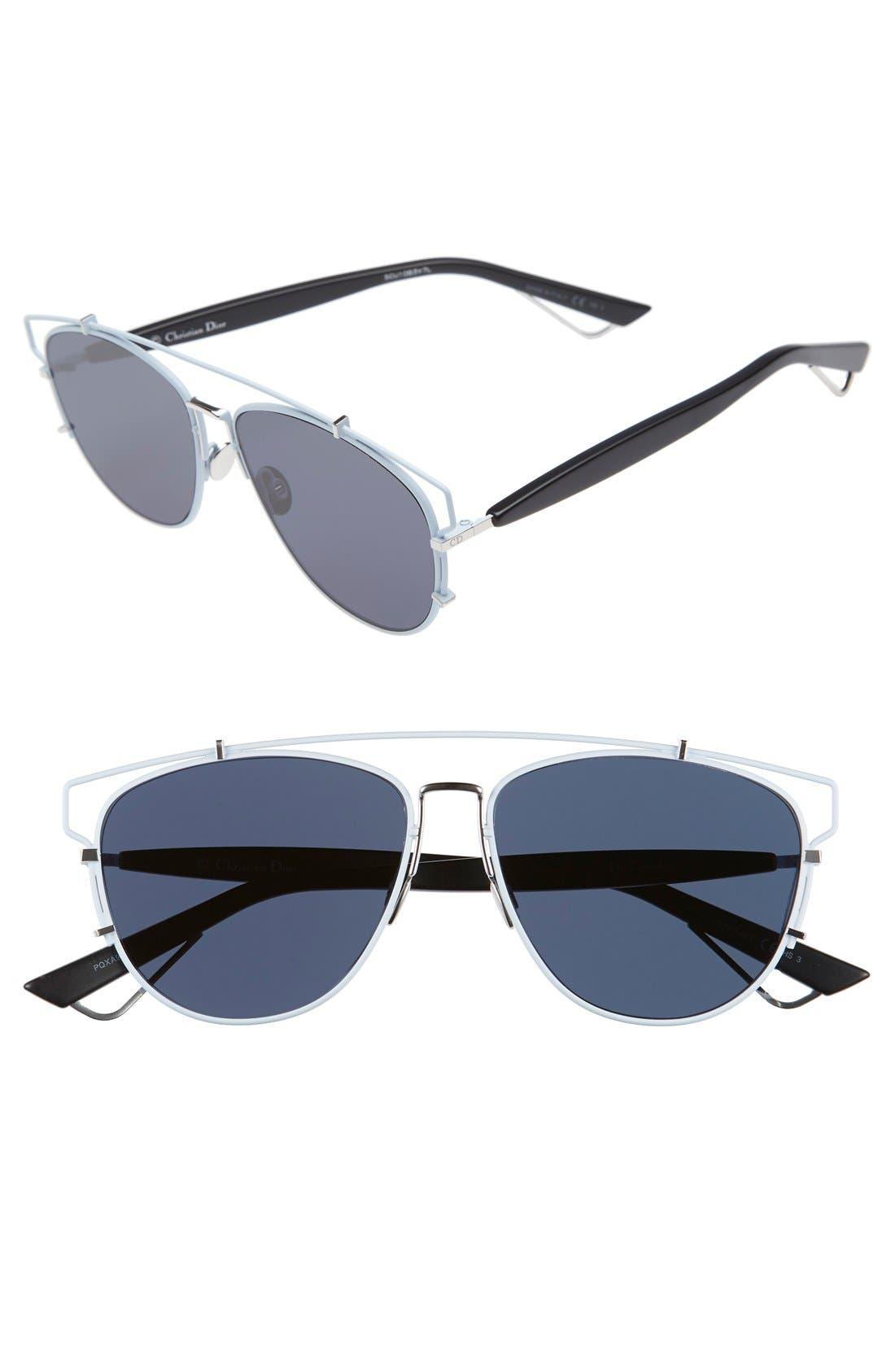 Technologic 57mm Brow Bar Sunglasses,                             Main thumbnail 9, color,