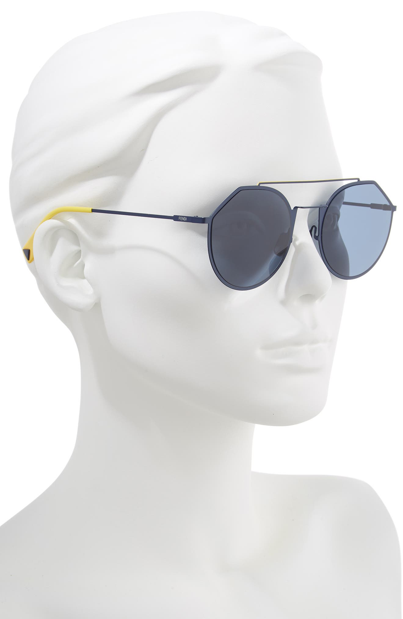 54mm Polarized Round Sunglasses,                             Alternate thumbnail 2, color,                             BLUE