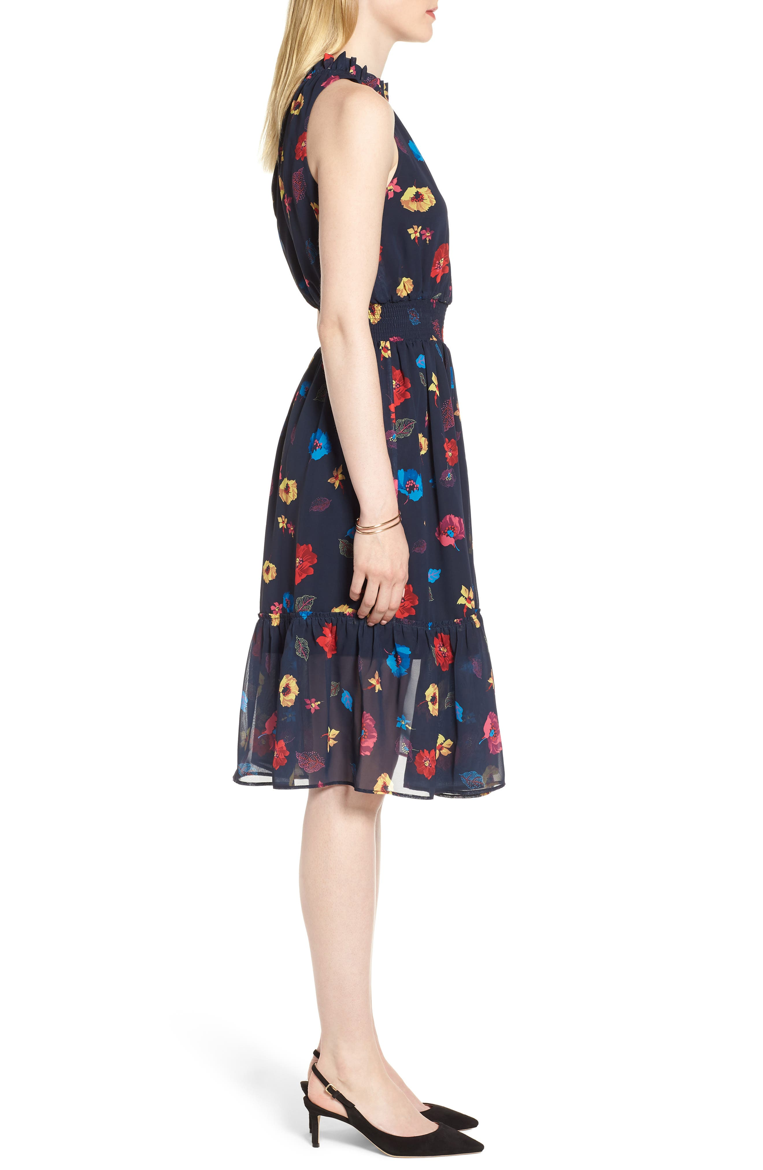 Floral Chiffon Fit & Flare Dress,                             Alternate thumbnail 3, color,                             NAVY POP FLOWER