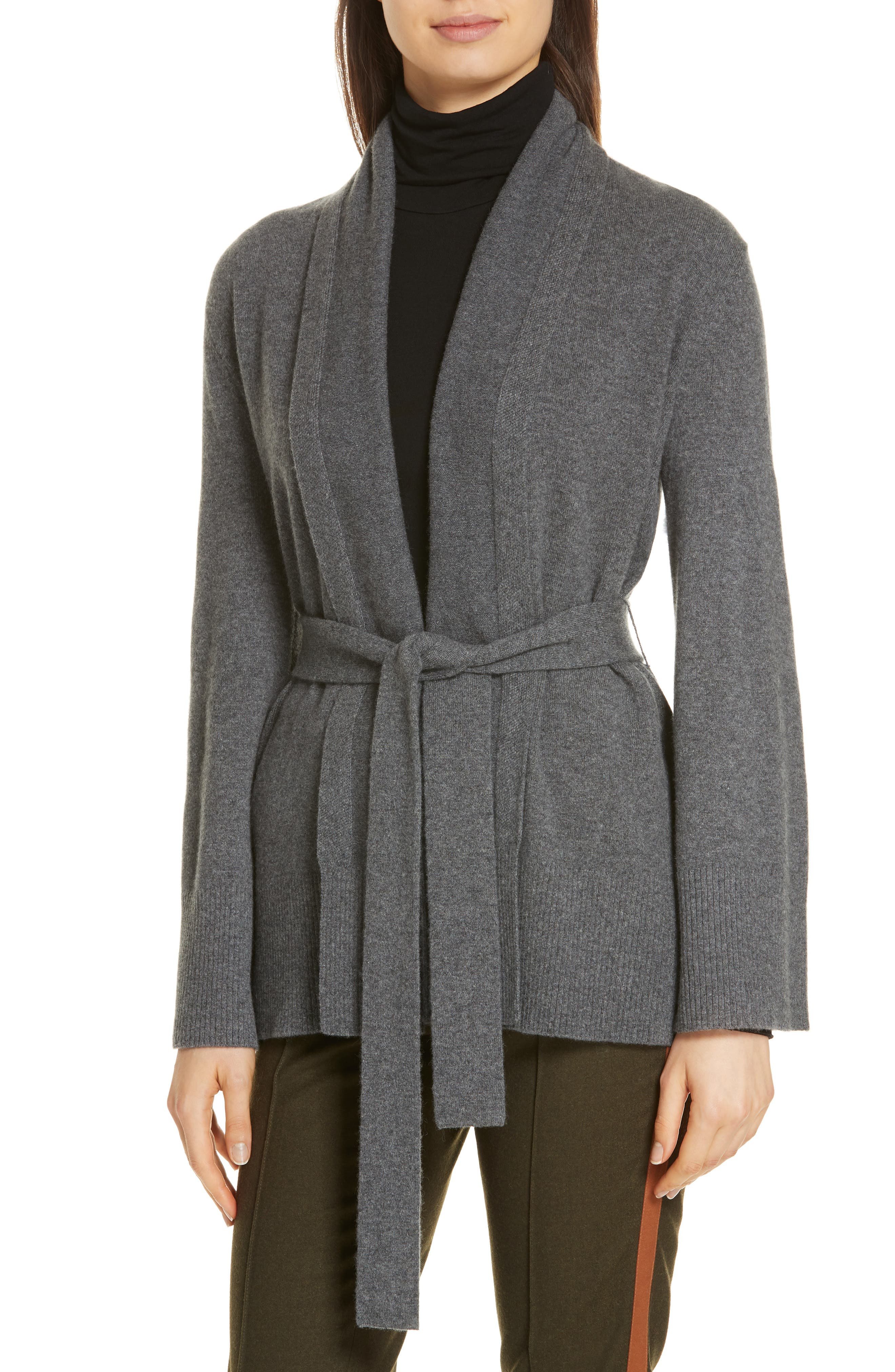 Belted Cashmere Blend Cardigan,                             Alternate thumbnail 4, color,                             GREY PEARL HEATHER