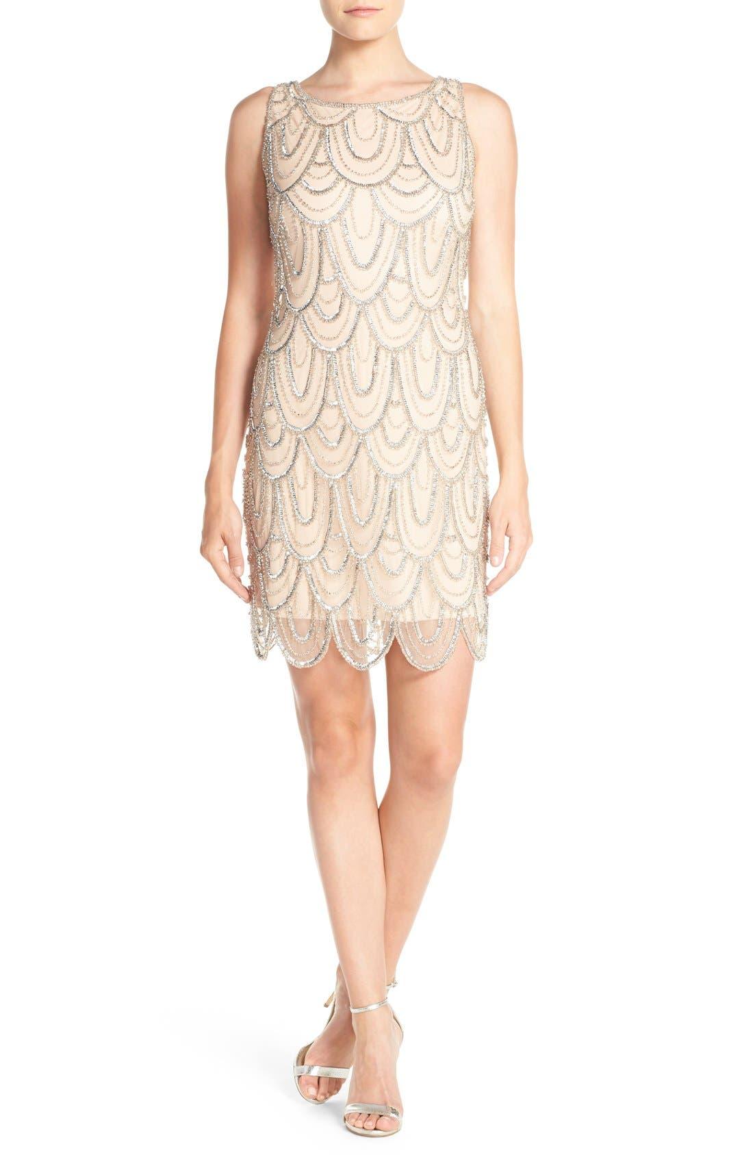 Embellished Mesh Sheath Dress,                             Main thumbnail 19, color,