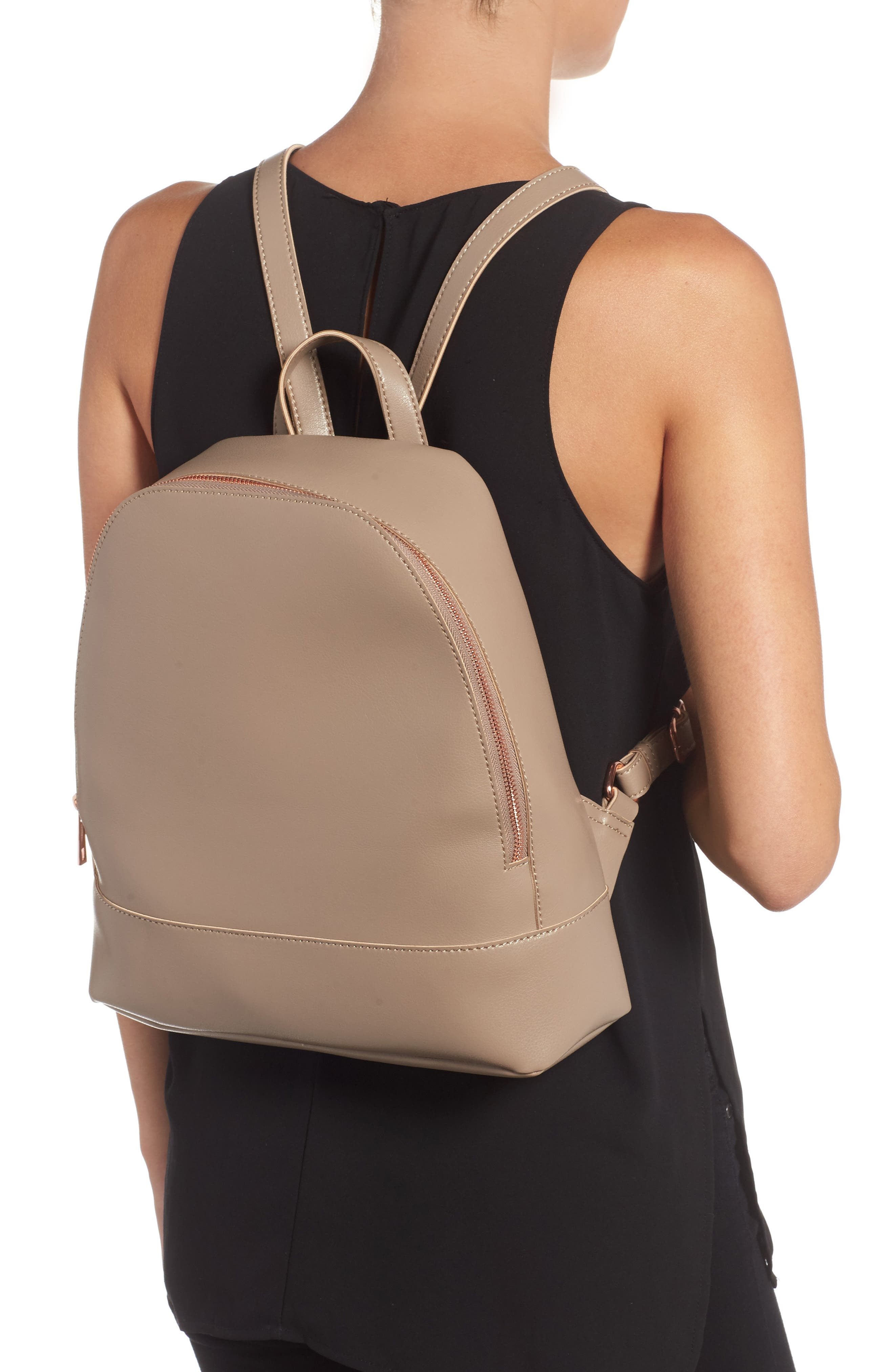 Chester Faux Leather Backpack,                             Alternate thumbnail 4, color,