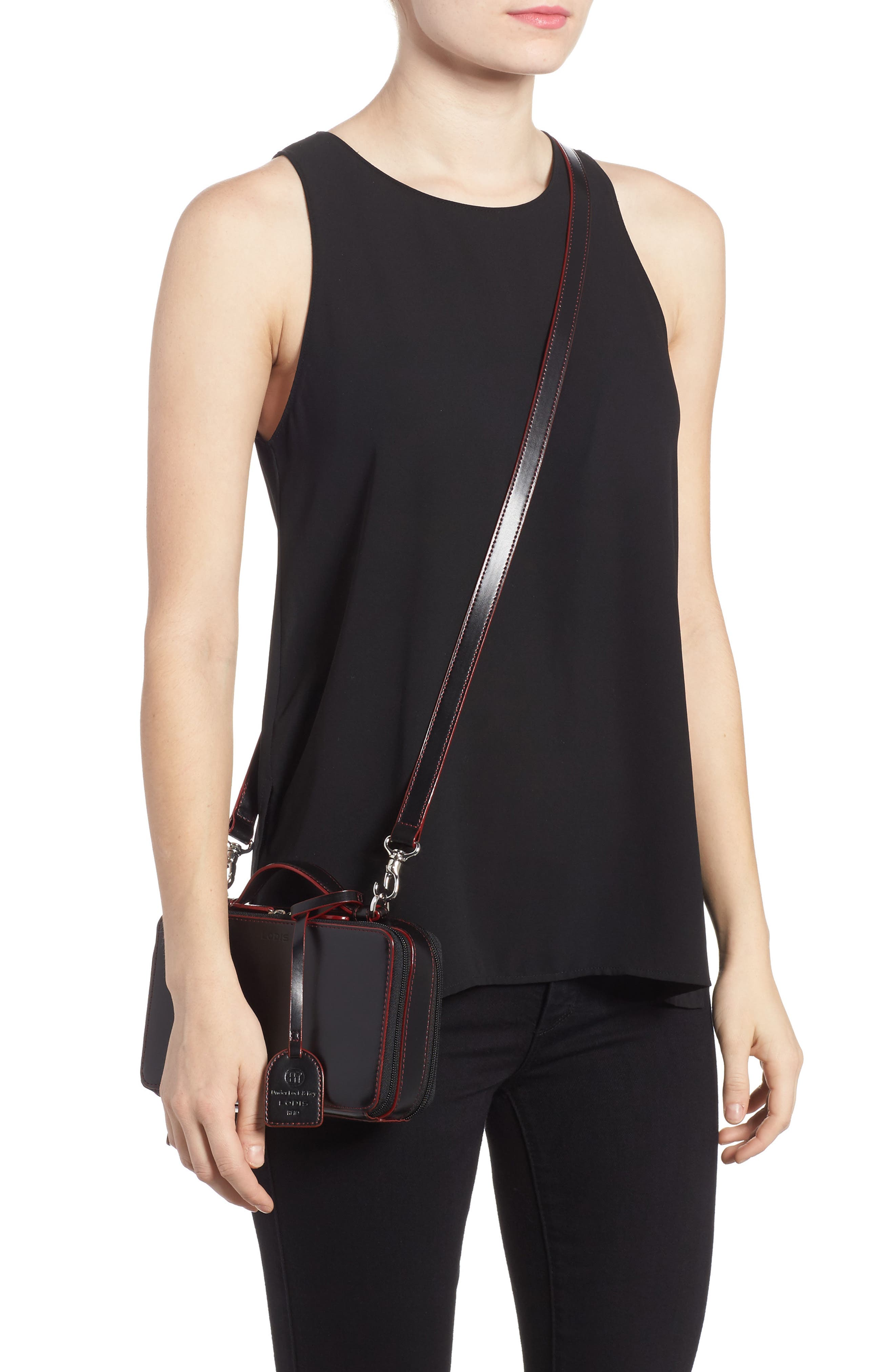 Downtown Sally RFID Zip-Around Leather Crossbody Bag,                             Alternate thumbnail 2, color,                             BLACK