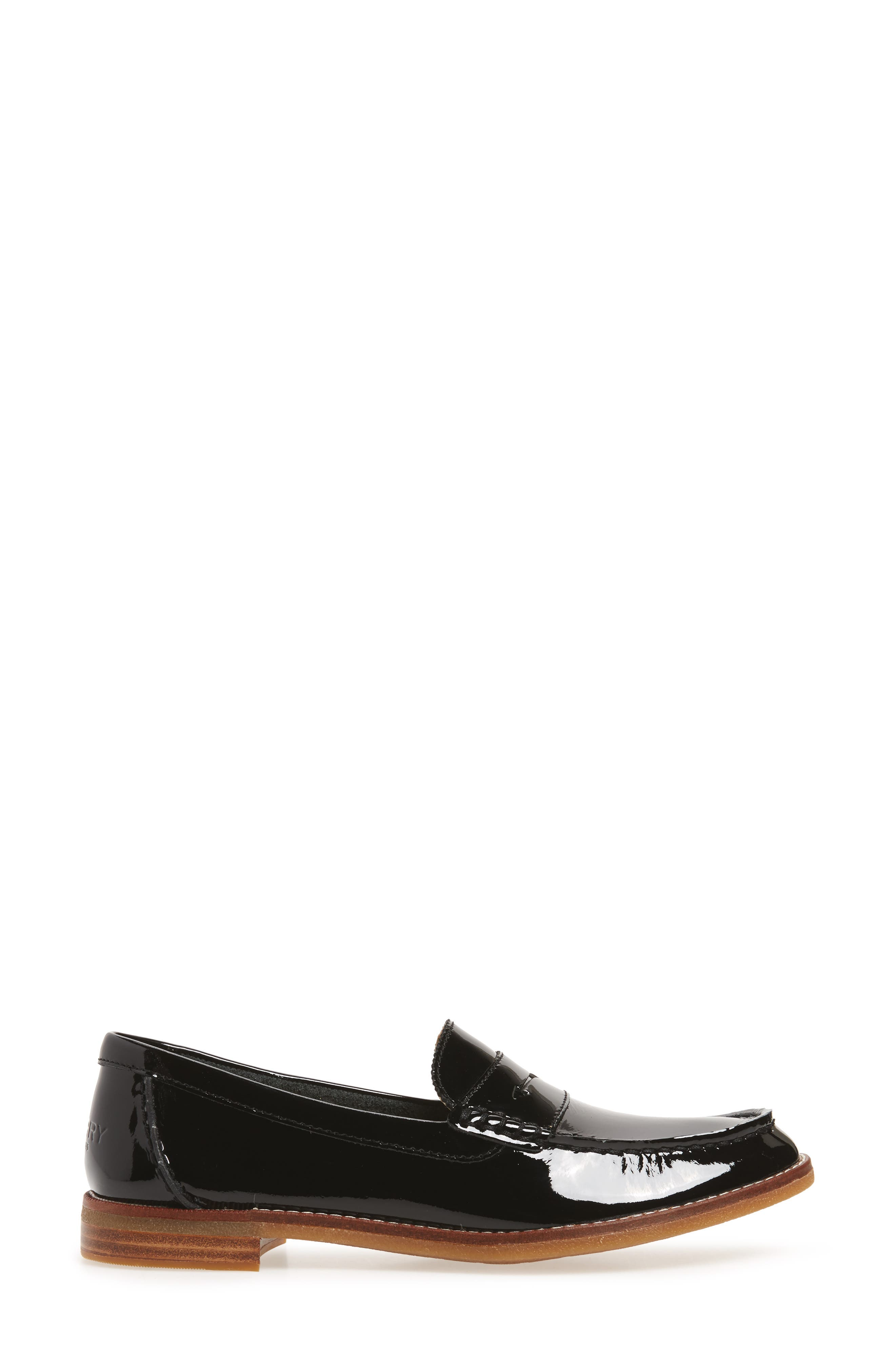 Seaport Penny Loafer,                             Alternate thumbnail 3, color,                             BLACK PATENT LEATHER