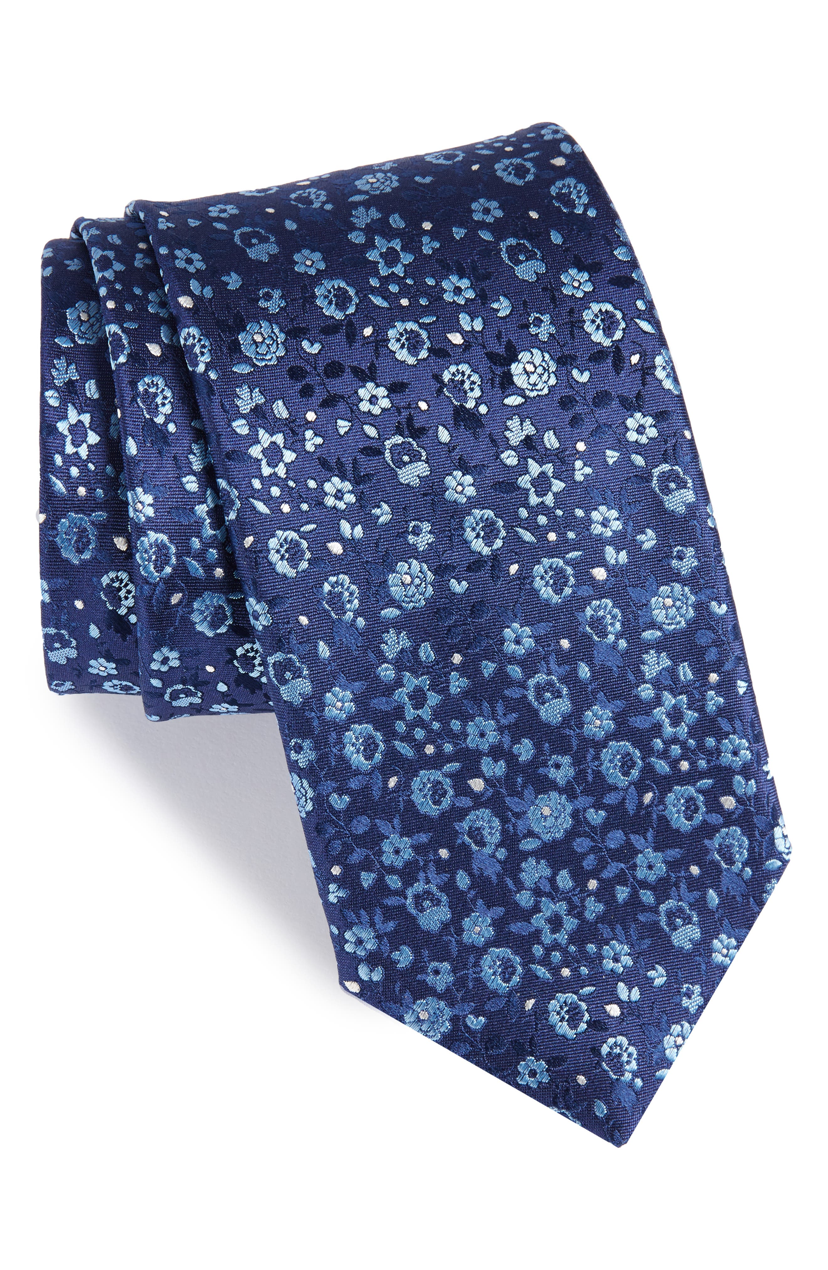 Floral Silk Tie,                             Main thumbnail 1, color,                             410