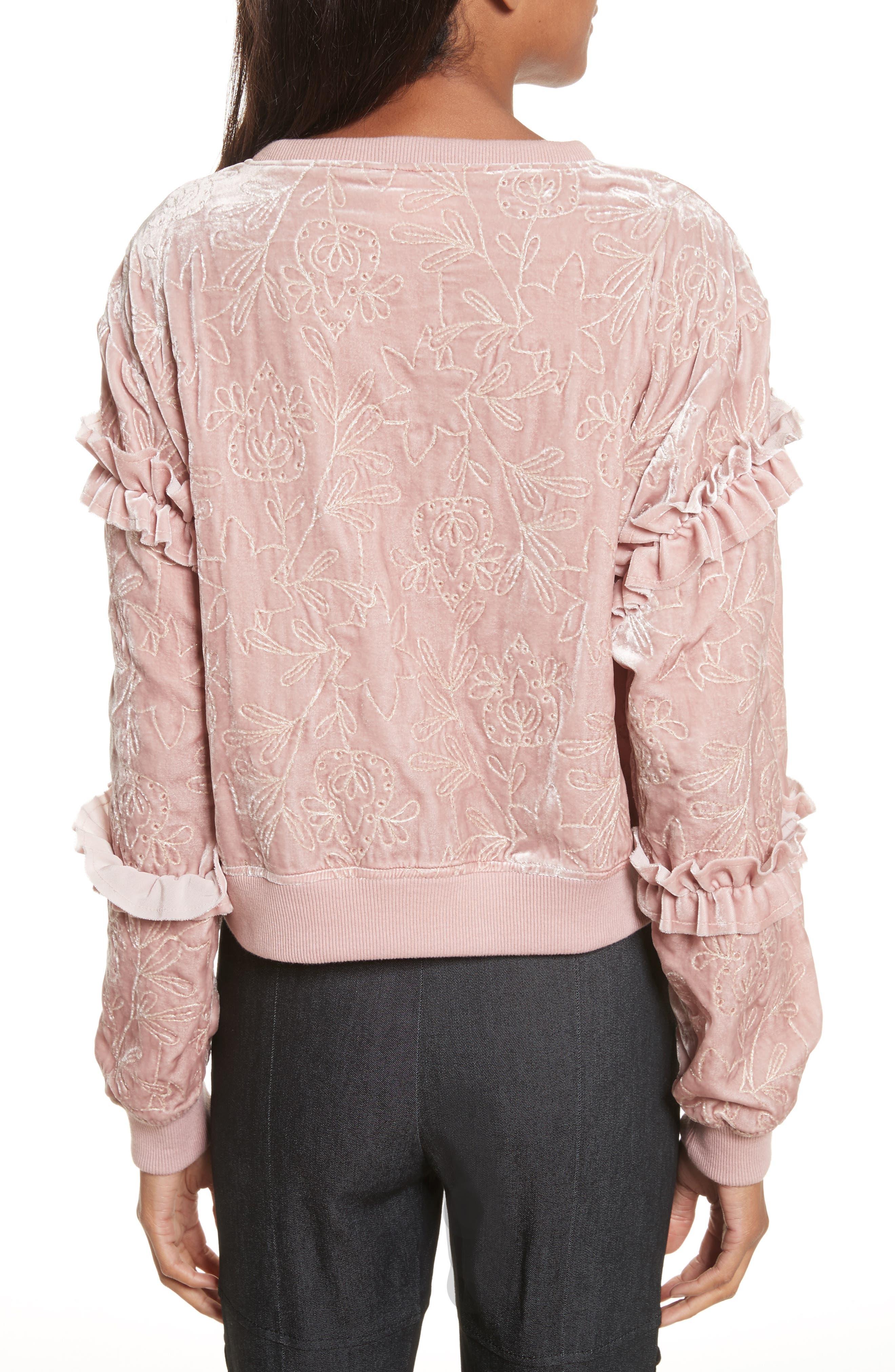 Nara Embroidered Velvet Sweatshirt,                             Alternate thumbnail 2, color,                             563
