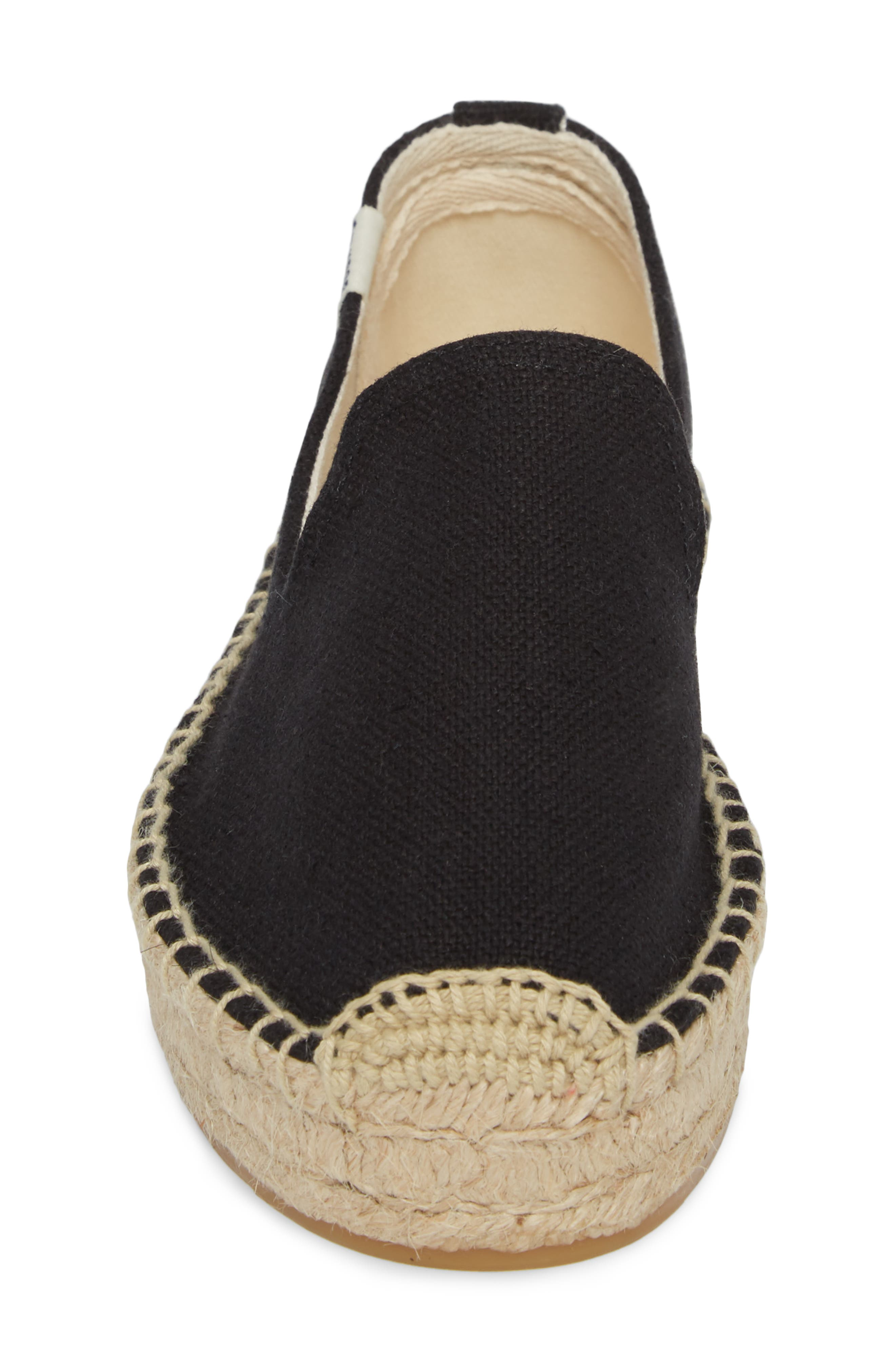 Platform Espadrille Flat,                             Alternate thumbnail 4, color,                             BLACK CANVAS