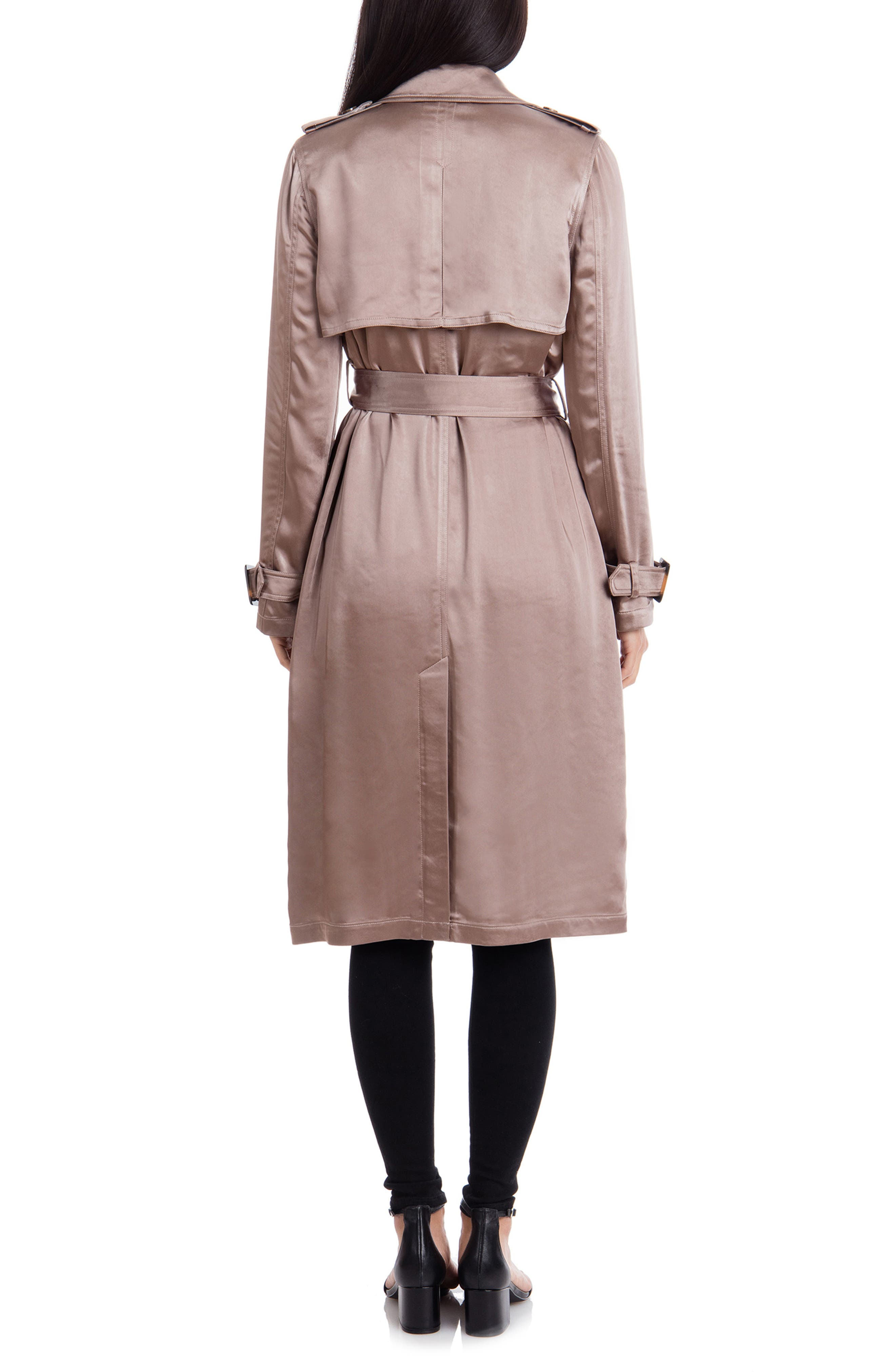 BADGLEY MISCHKA COLLECTION,                             Badgley Mischka Double Breasted Satin Trench Coat,                             Alternate thumbnail 2, color,                             TAUPE