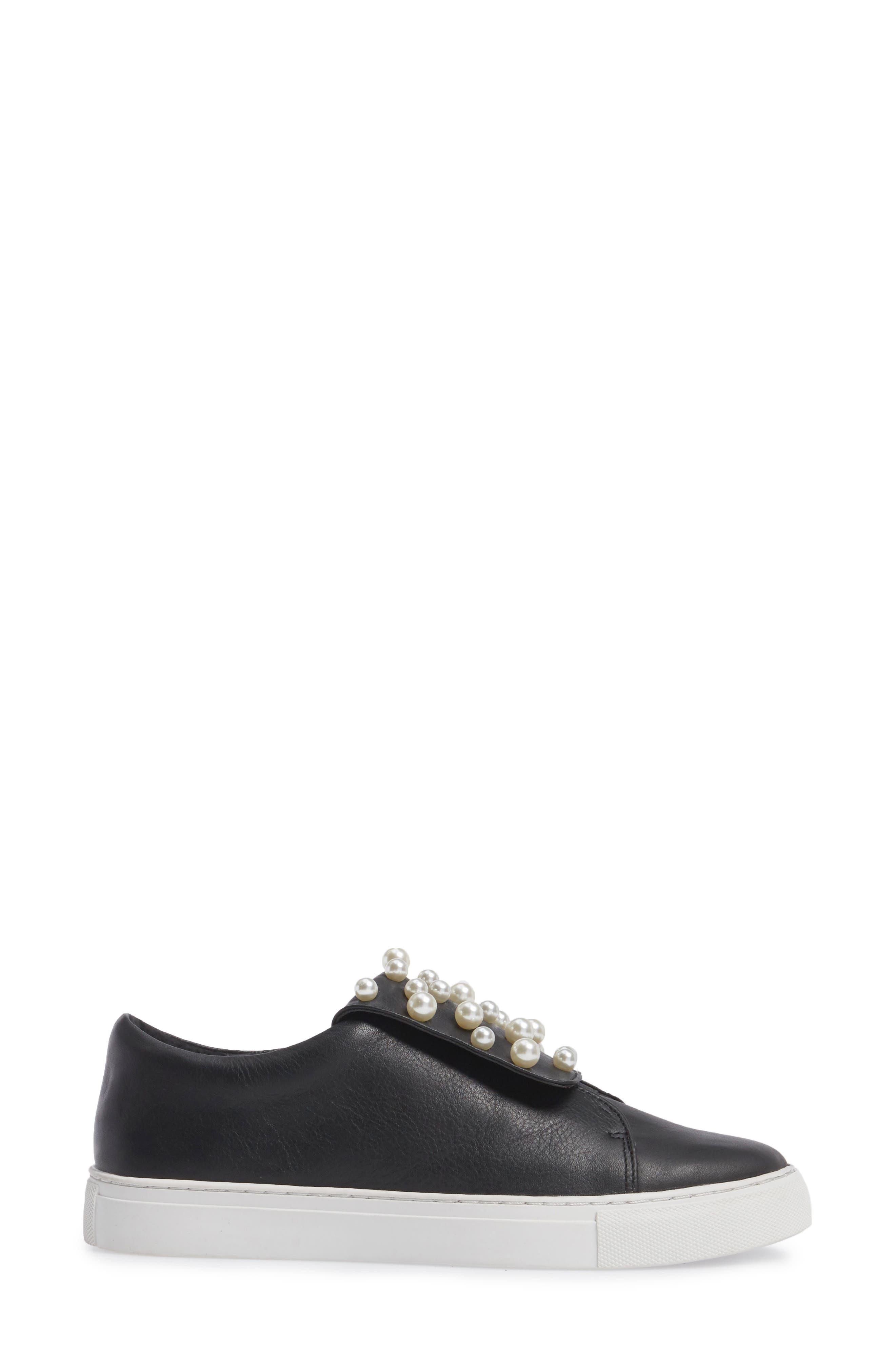 Hadi Imitation Pearl Embellished Platorm Sneaker,                             Alternate thumbnail 3, color,                             001