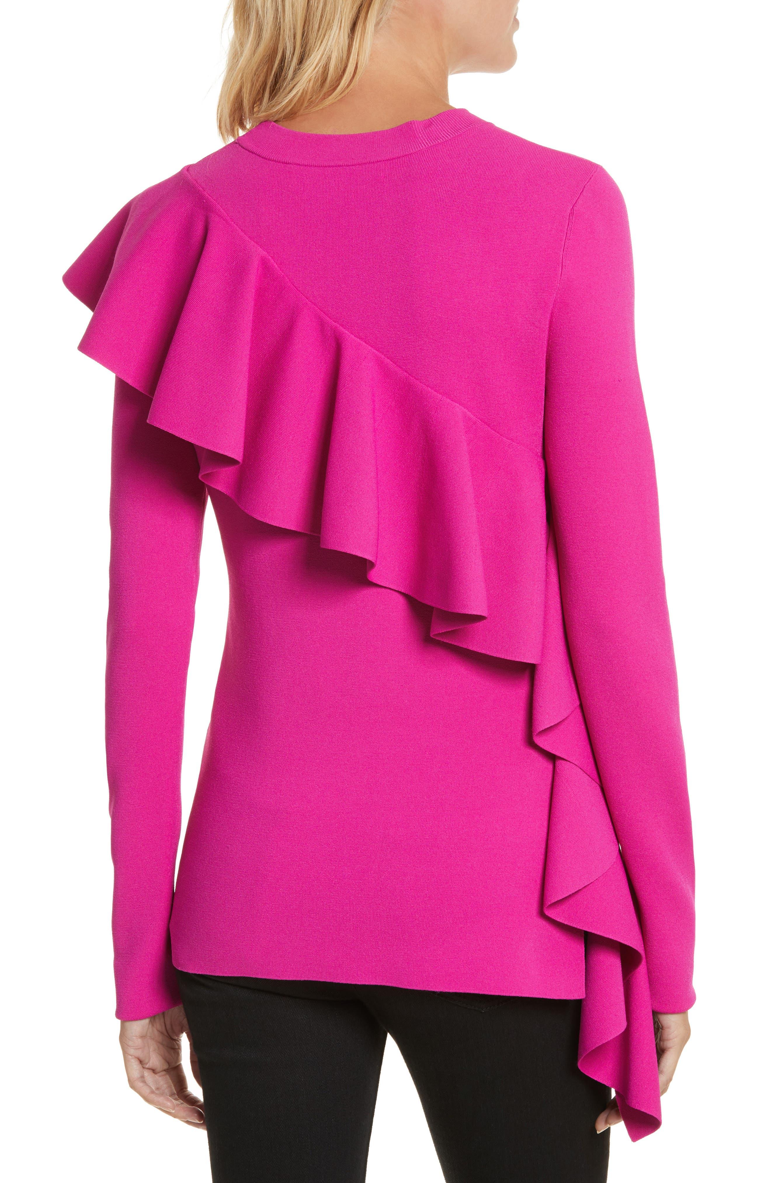 Diane von Furstenberg Ruffle Front Pullover,                             Alternate thumbnail 2, color,                             666