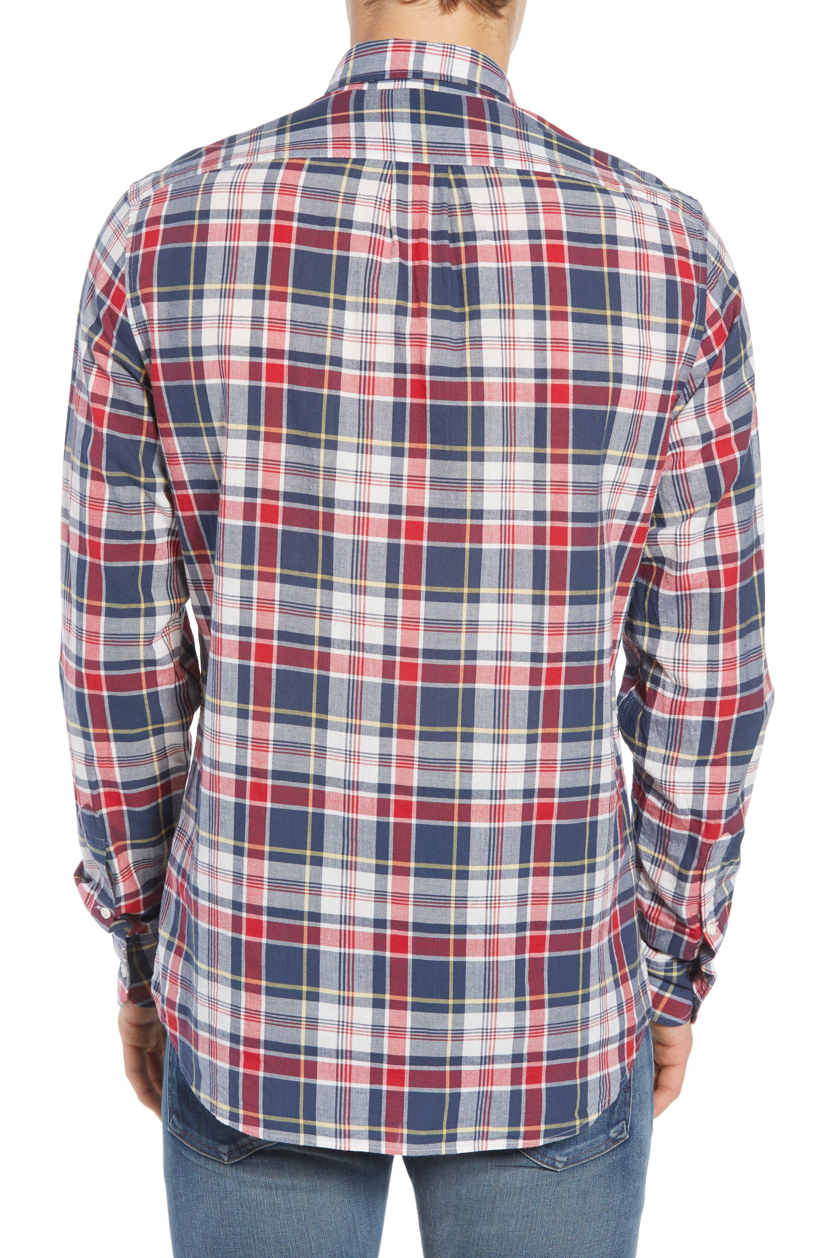Regular Fit Madras Plaid Sport Shirt,                             Alternate thumbnail 3, color,                             400