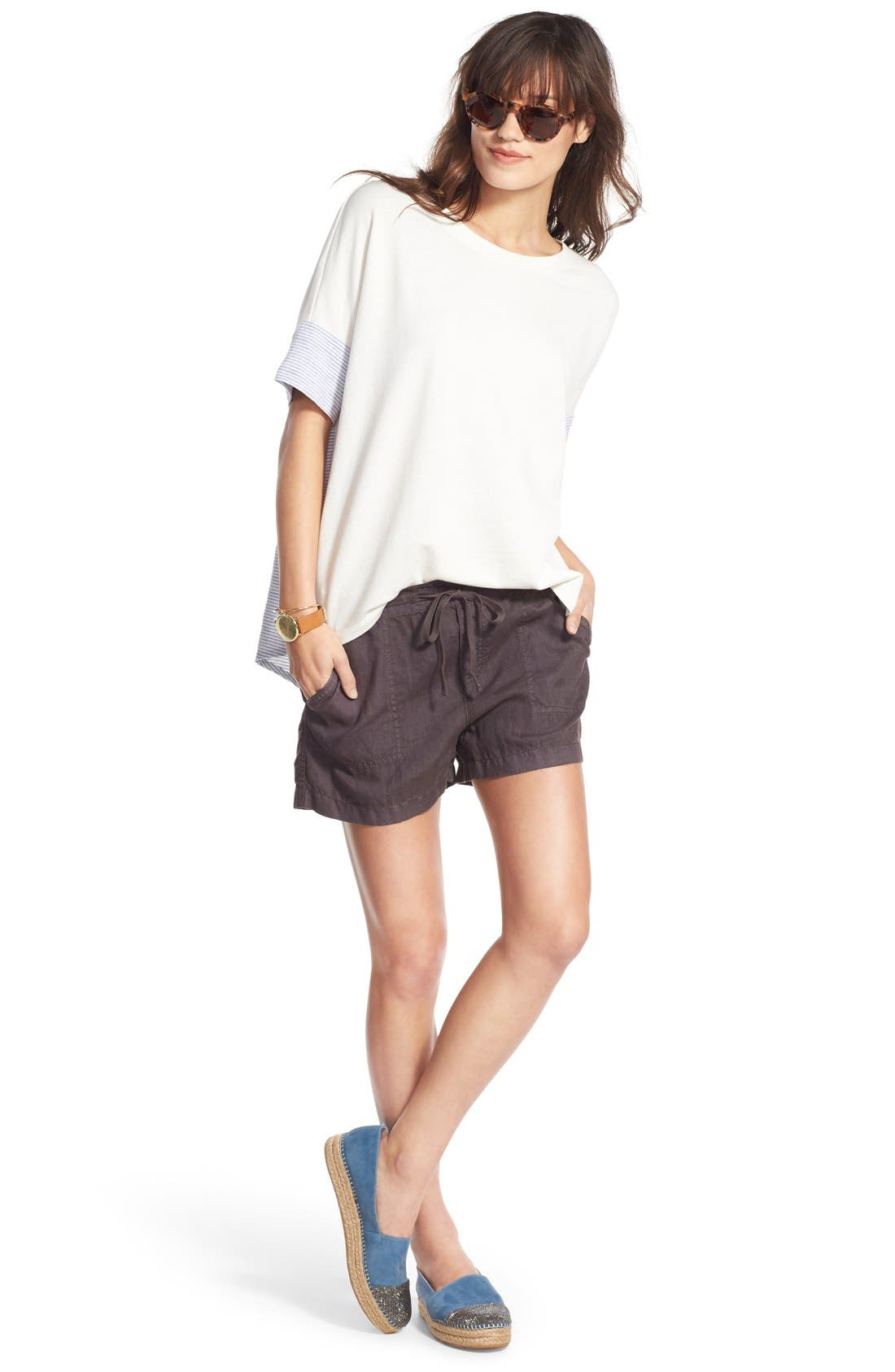 Drawstring Linen Shorts,                             Alternate thumbnail 7, color,                             030