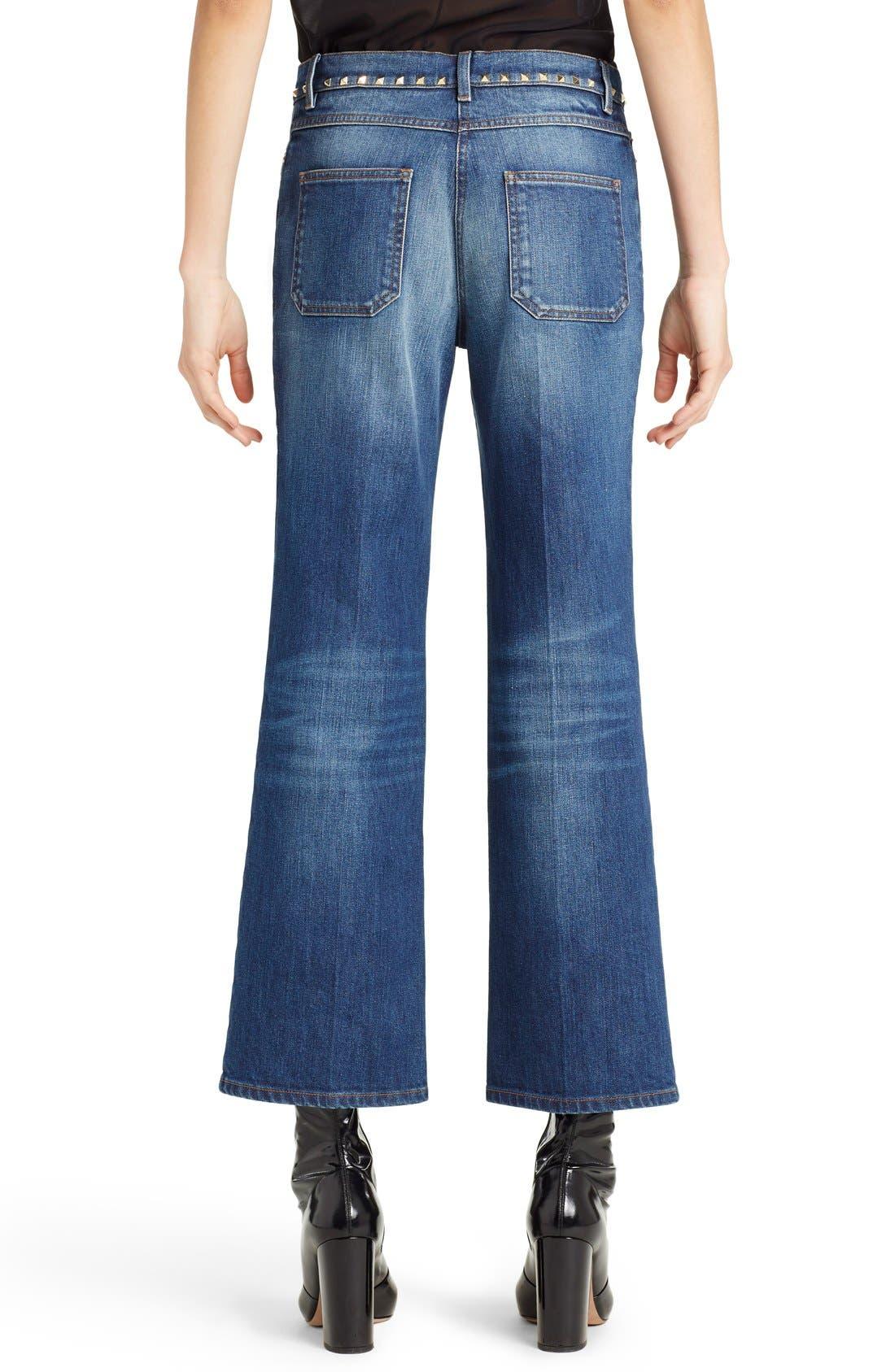 Studded Wide Leg Jeans,                             Alternate thumbnail 2, color,                             MEDIUM BLUE