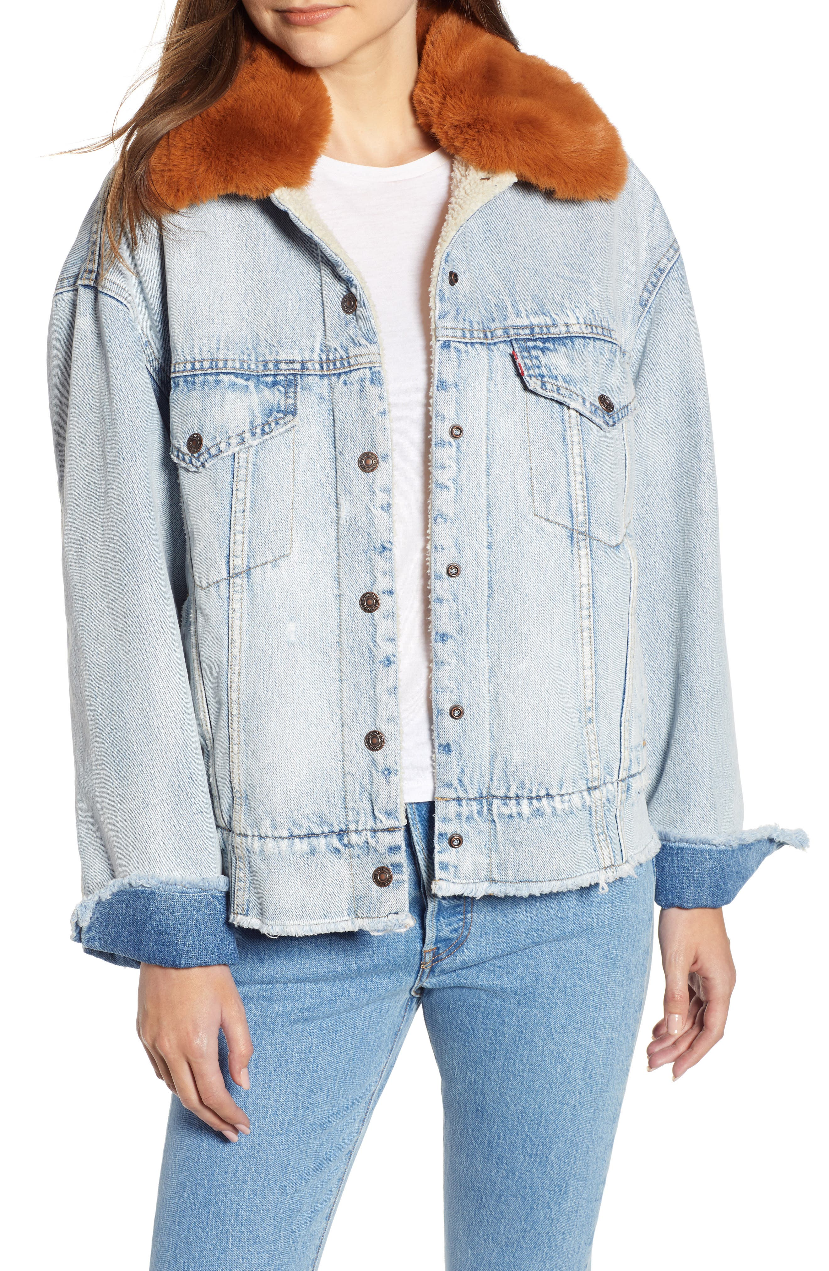 Oversize Faux Shearling Lined Denim Trucker Jacket with Removable Faux Fur Collar,                             Main thumbnail 1, color,                             401