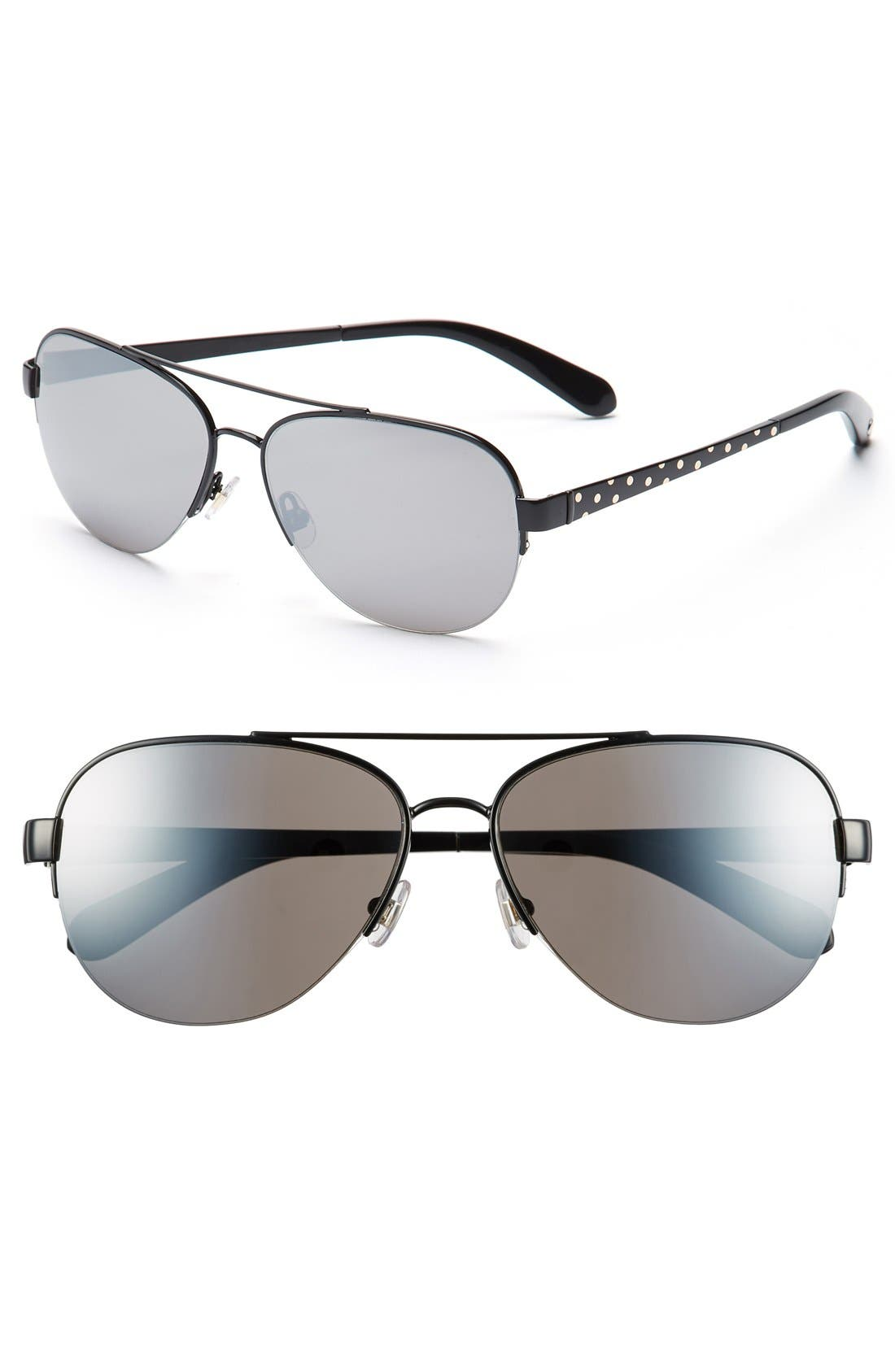 57mm aviator sunglasses,                             Main thumbnail 1, color,                             001